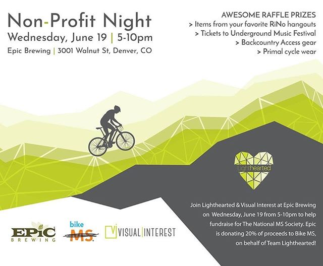 Grab a friend or 3 to join Lighthearted & Visual Interest at Epic Brewing on Wednesday, June 19 from 5-10pm to help fundraise for The National MS Society. Epic is donating 20% of proceeds to Bike MS, on behalf of Team Lighthearted who will participate in the Colorado Bike MS Event this month. @bike_ms @epicbrewingden