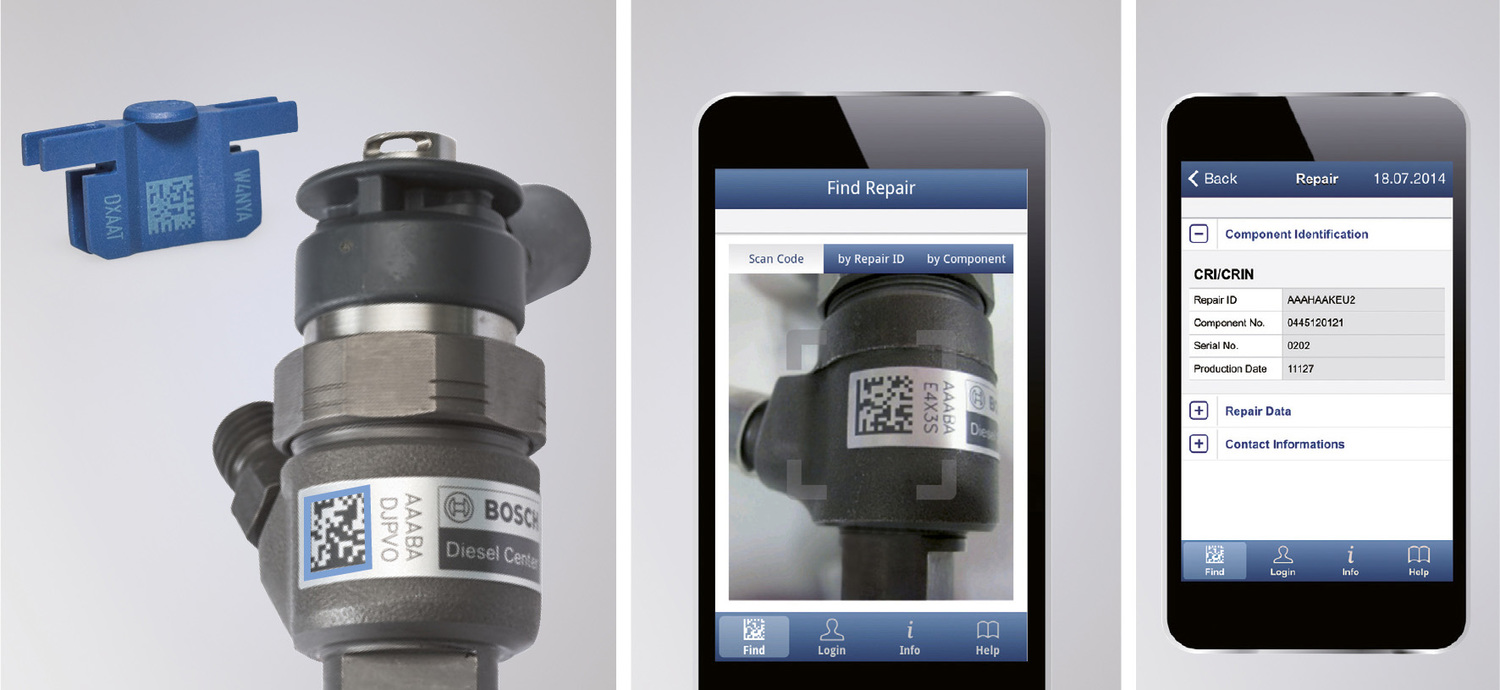 Bosch have introduced the Quality Scan system as a special proof of quality. Common-rail injectors (CRI) and common-rail pumps(CP) are fitted with special adhesive repair ID labels or with repair ID clips in the case of common-rail injectors for commercial vehicles (CRIN).    By using the QualityScan app to scan the code on the injector the customer can read component data such as repair ID, repair date, IMA code or contact details of the diesel specialist performing the work
