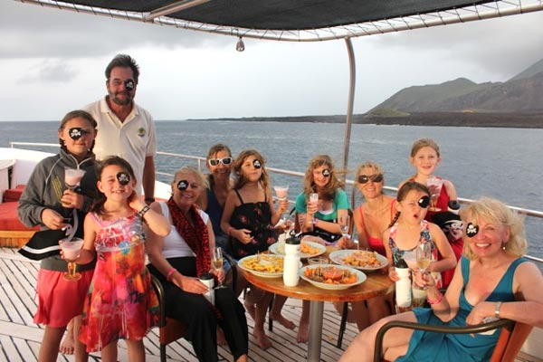 Crossing the equator party on a private charter.
