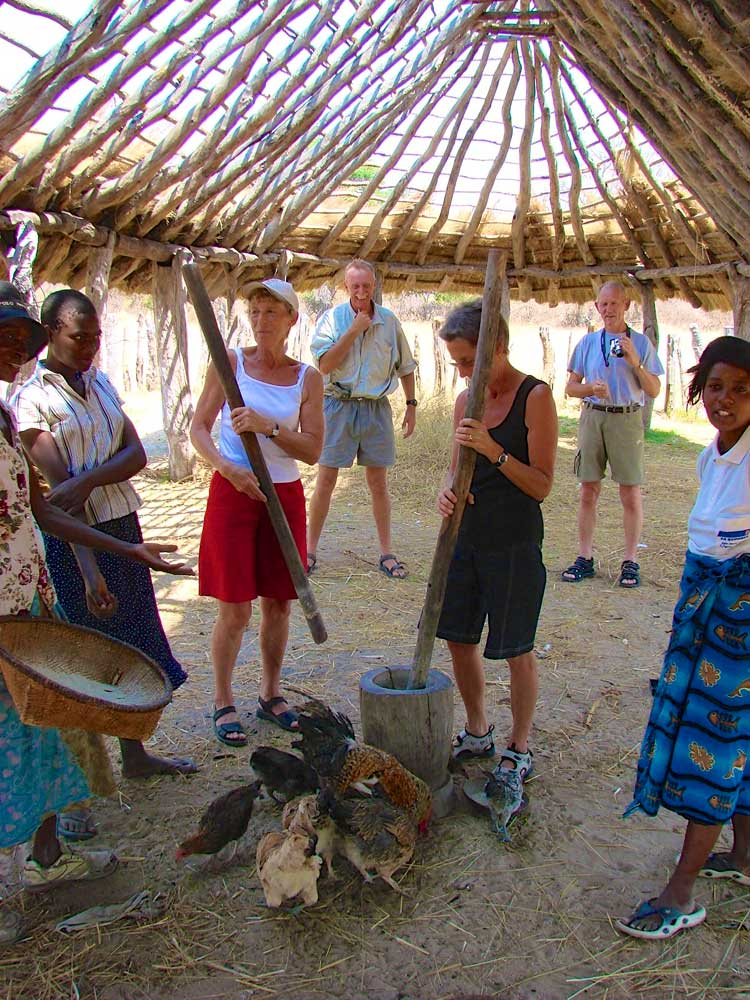 Pounding millet in a local community. (Photo: Imvelo Safaris)