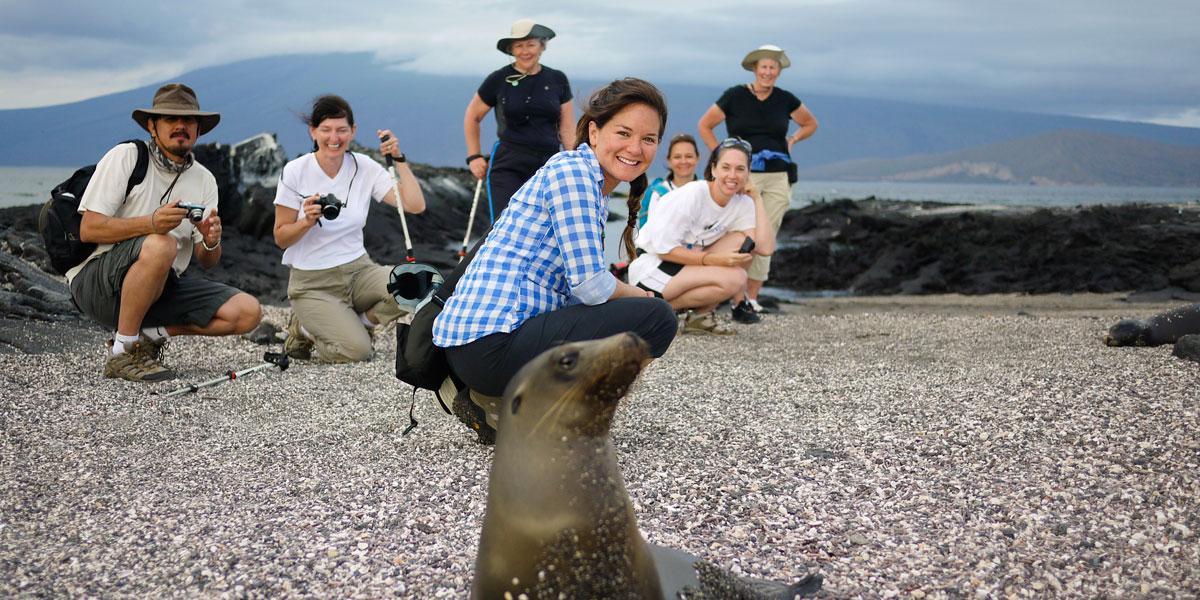 Shore visit at Punta Espinoza, Fernandina entertained by a gregarious sea lion pup. Photo: Philip Yip.