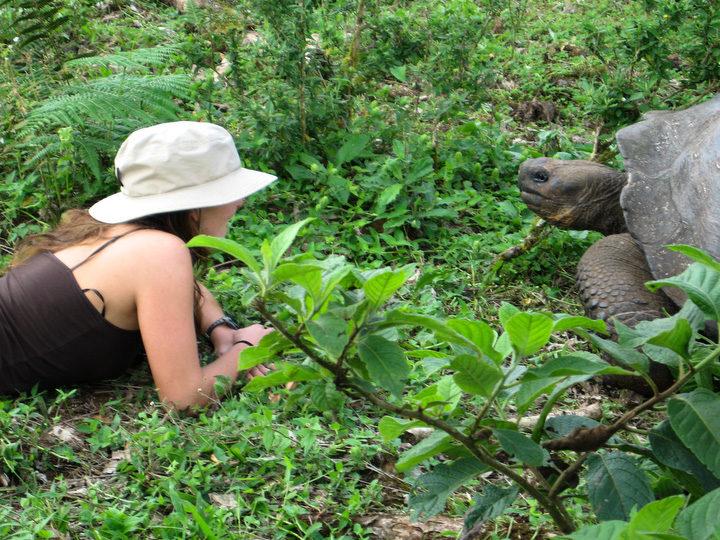 Less than 24 hours from leaving home, you're face to face with a giant tortoise. Photo: Bill Roberson