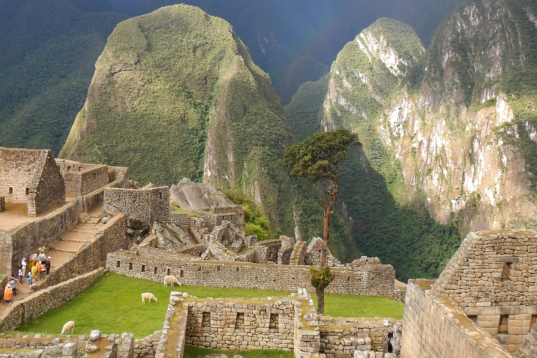 Mist rainbow over Machu Picchu
