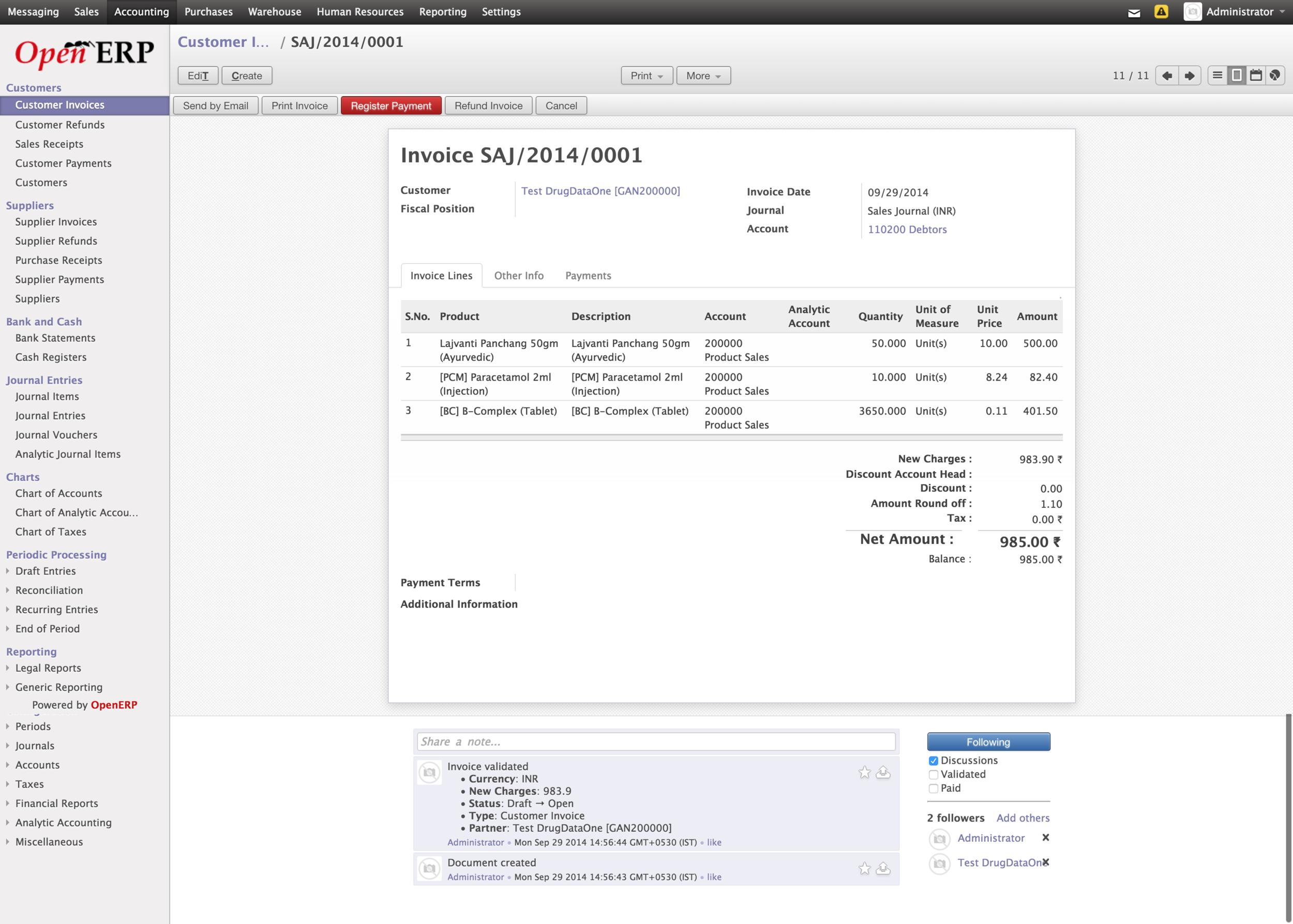 ERP - Customer Invoice