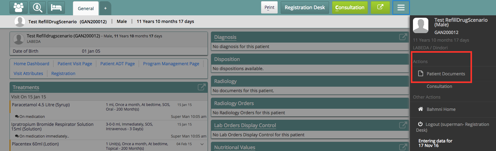 Patient Document Sidebar