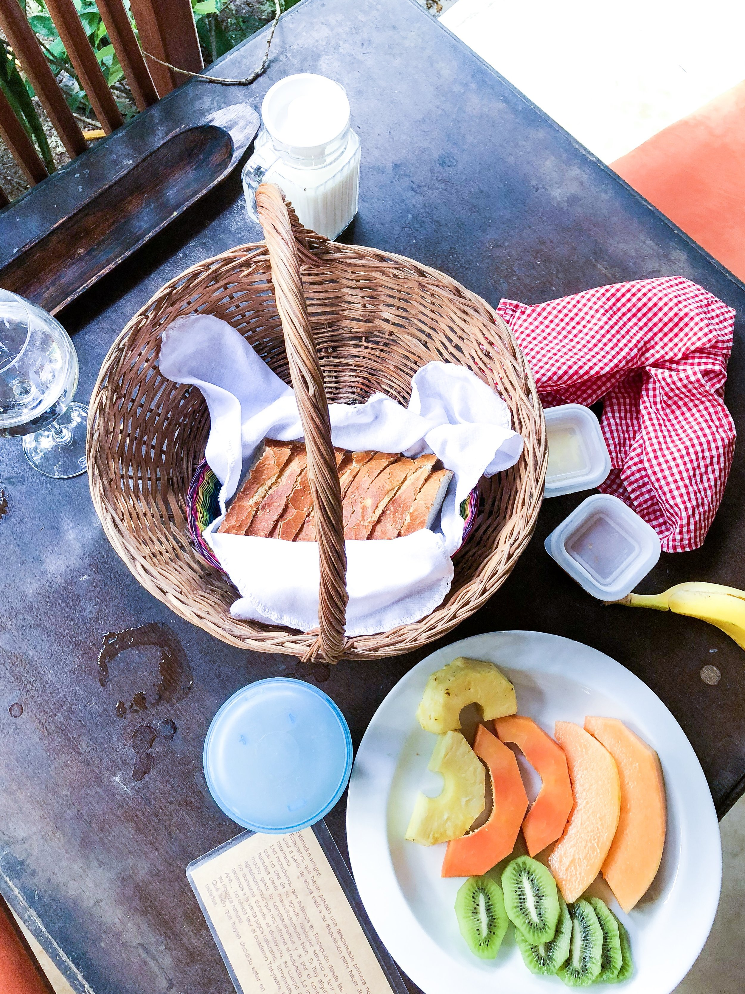 Breakfast brought to our door on the last day :) - Isla de Holbox, Mexico