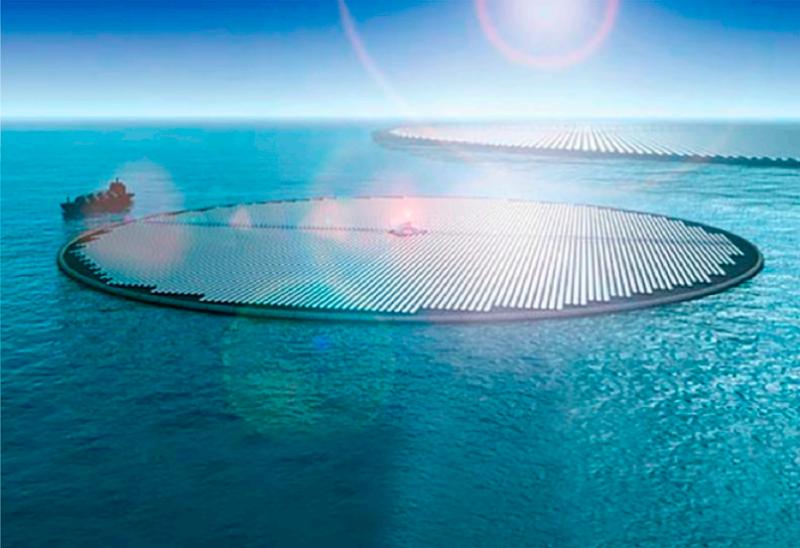 Artist's rendering of solar methanol islands    from Arts Technica