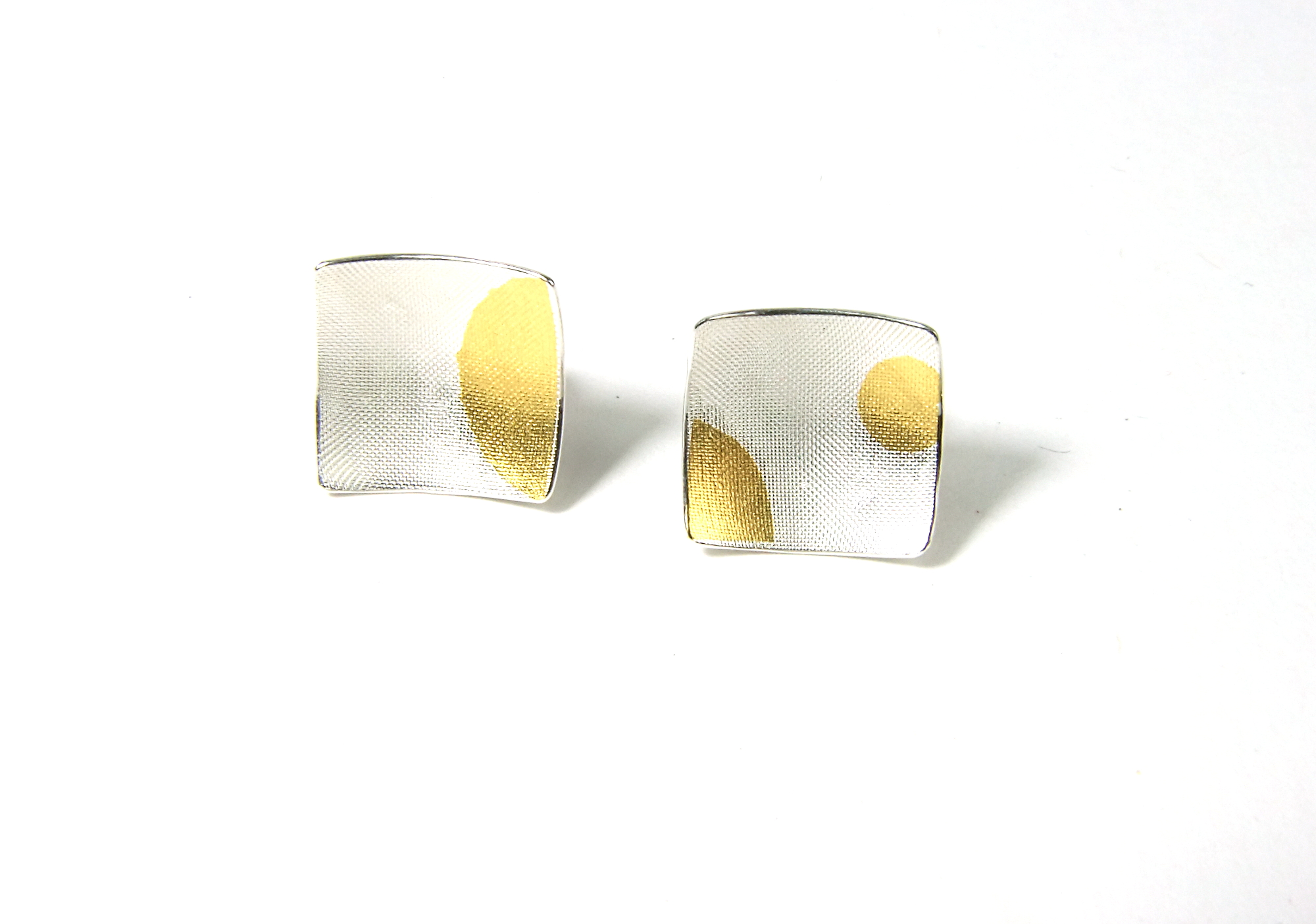 Square Ear Stud with Keum-Boo pattern, Style A, Front