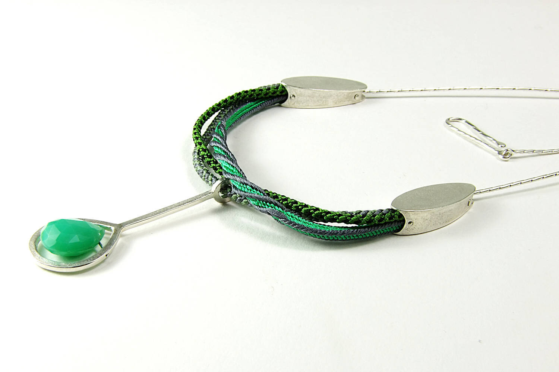 Green silk braided necklace with Argentium silver elements.