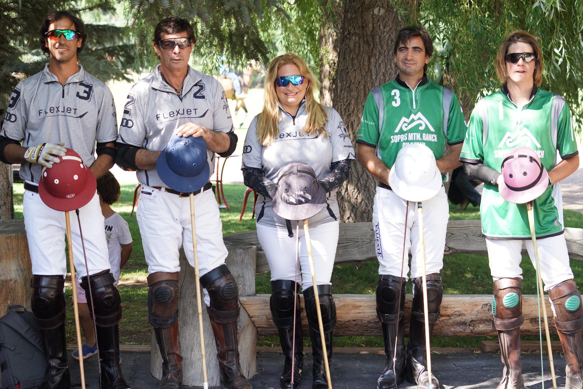Flexjet's Alejandro Novillo Astrada, Juan Bollini and Melissa Ganzi, Pablo Spinacci and Santos Bollini of Sopris Mountain Ranch.