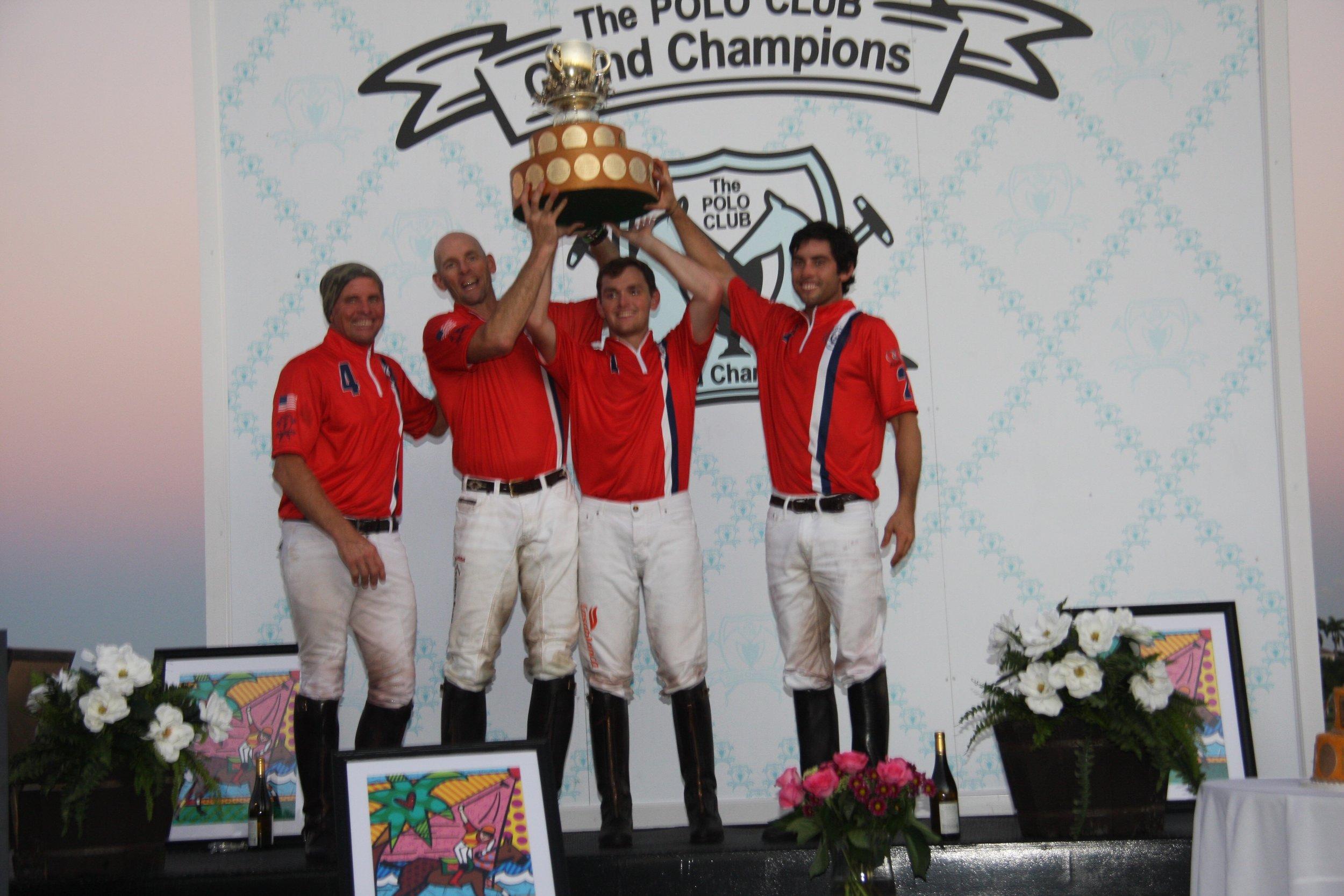 Team USA players Mike Azzaro, MVP Julio Arellano, Carlitos Gracida and Grant Ganzi with International Cup. Photo by Sheryel Aschfort