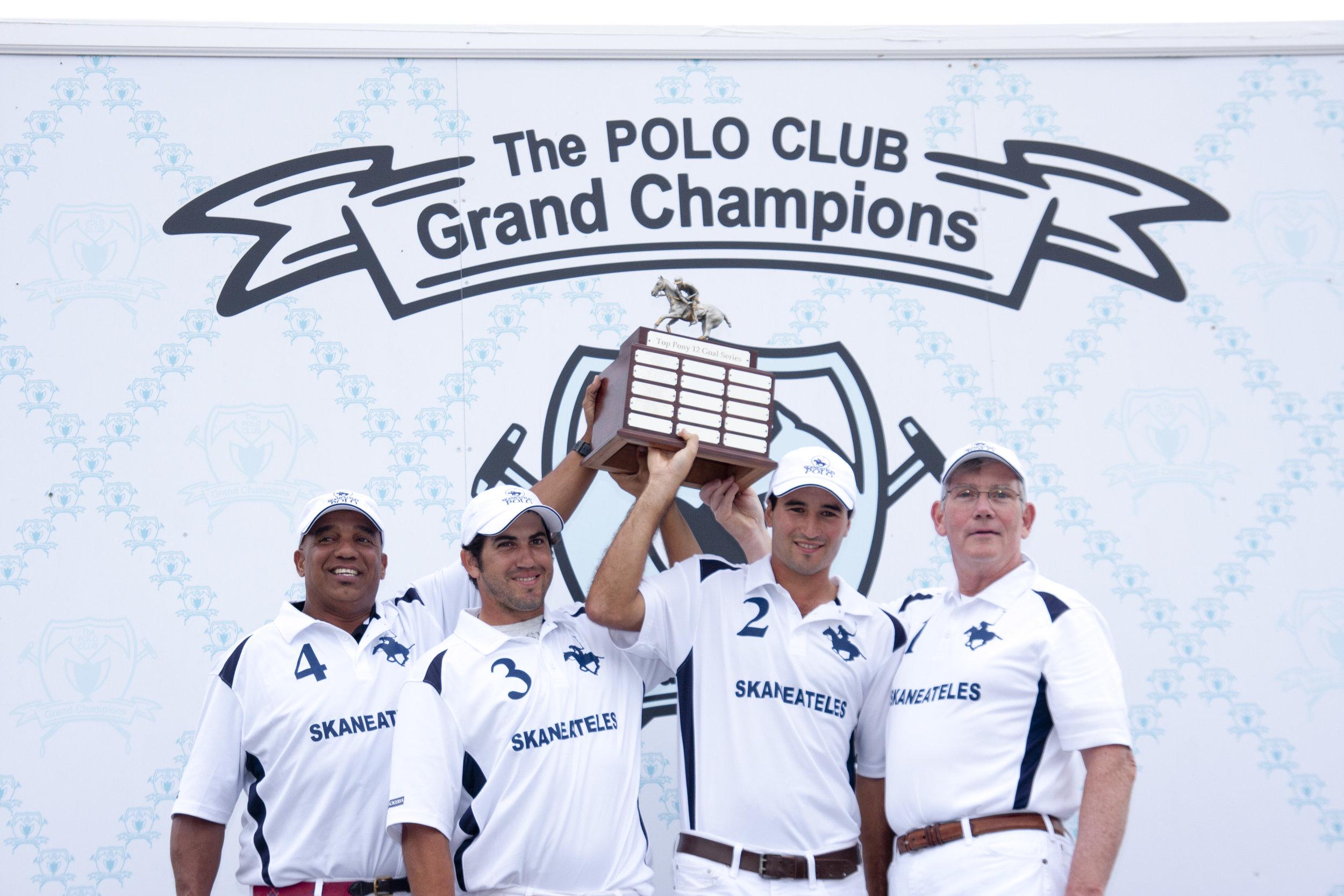 First-time Top Pony 12-Goal champion Skaneateles Cesar Jimenez, MVP Mariano Obregon, Costi Caset and Marty Cregg.