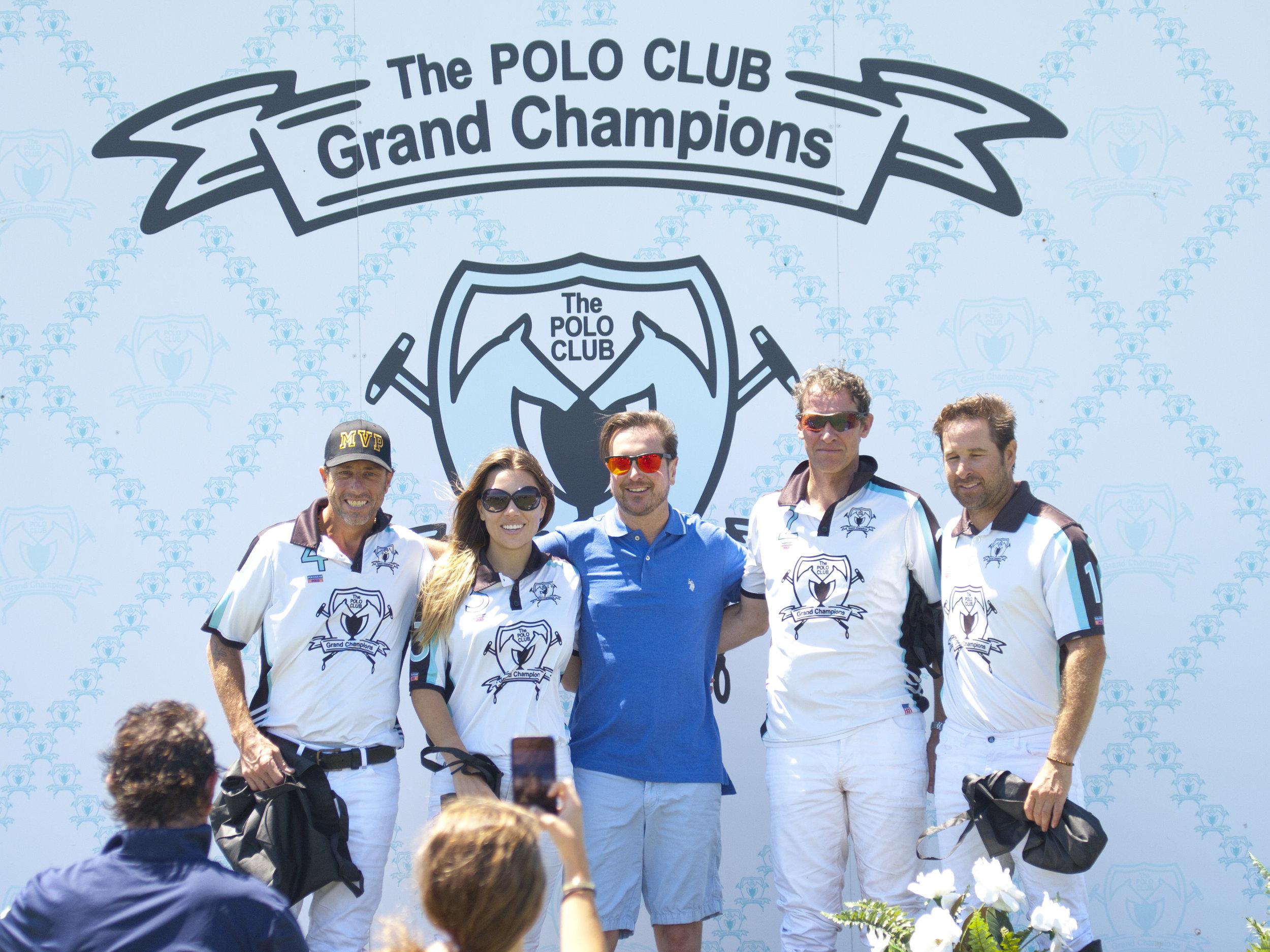 Polo 150 inaugural game winner Grand Champion's Pablo Dorignac, Ashley Busch, Kurt Busch, Mark Cann and Brandon Phillips.