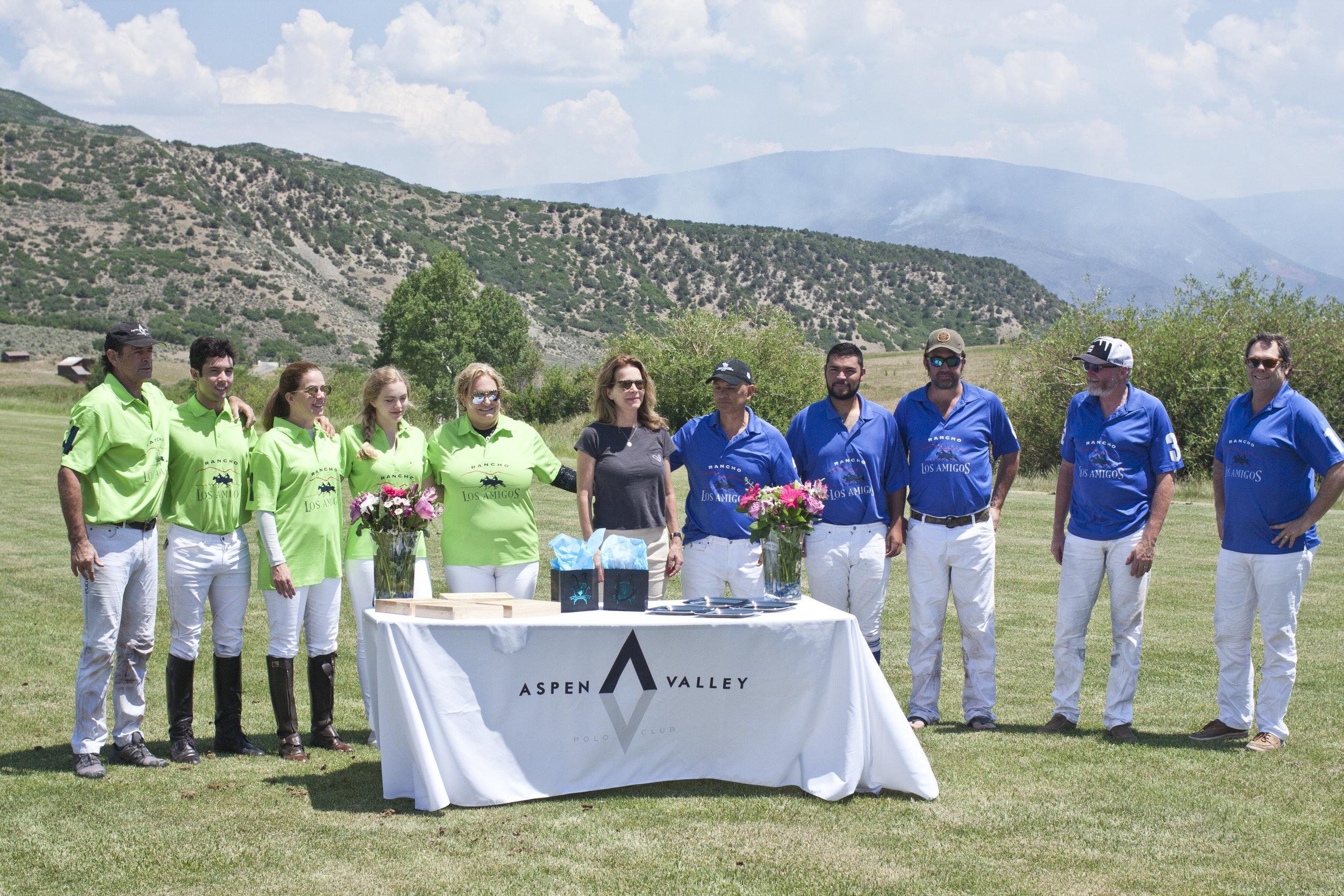 Aspen Cup winners Los Amigos Green and runners-up Los Amigos Blue.