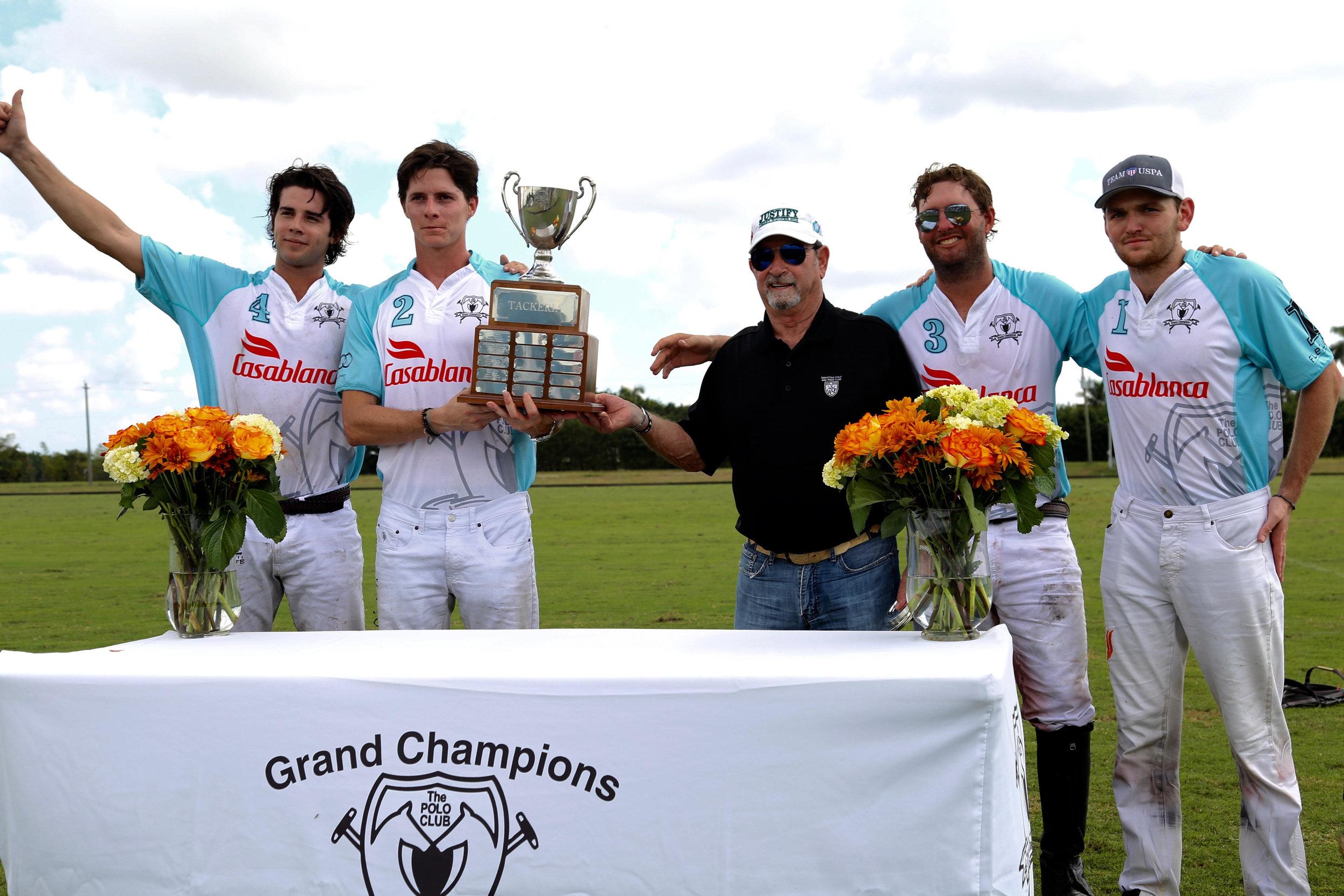 Casablanca winning teammates Mariano Gracida, Juancito Bollini, Julio Gracida and Grant Ganzi with awards presenter Tony Coppola.