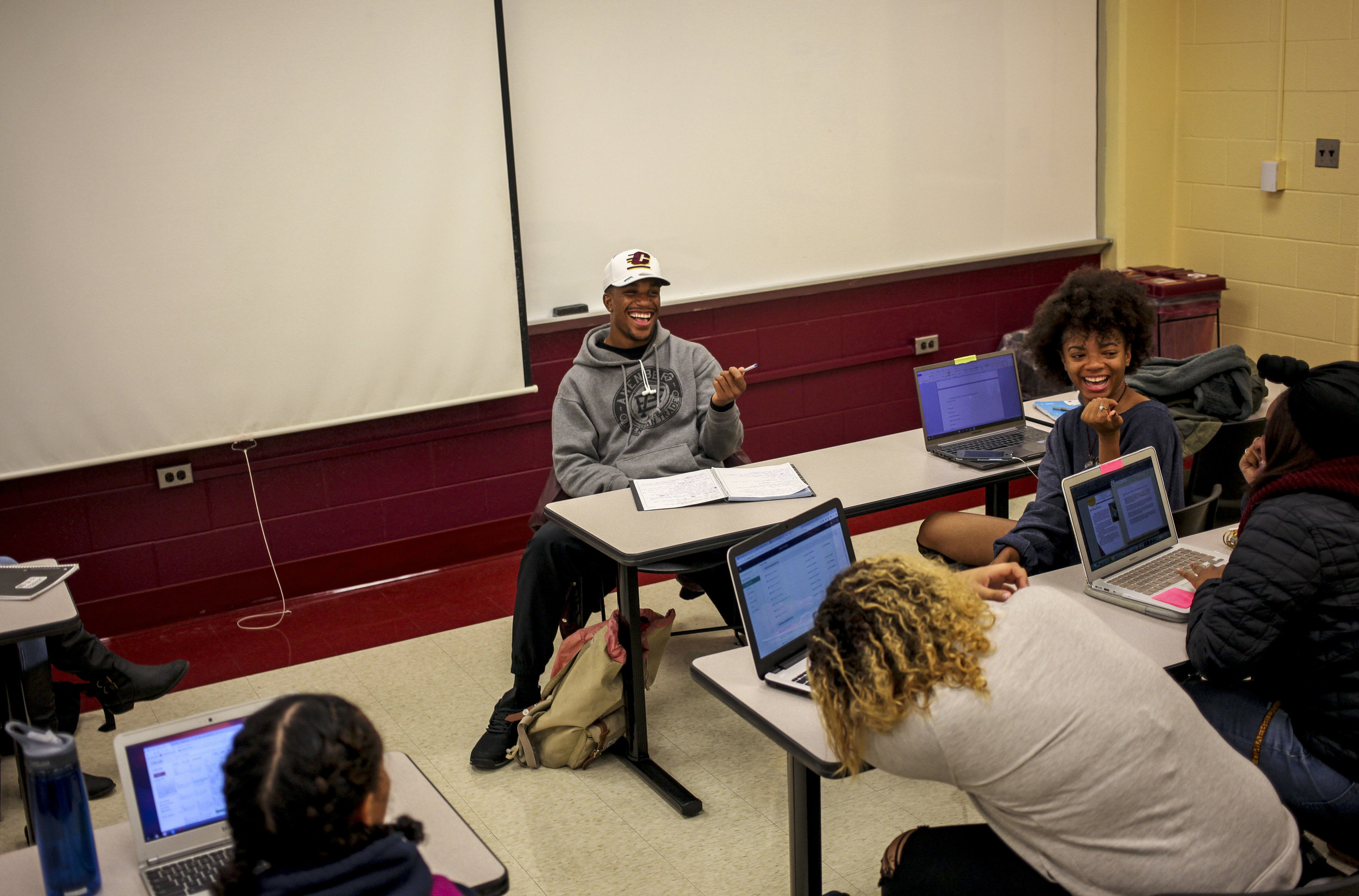 Ray Golden, Jr., makes a joke during a meeting of the Central Michigan University NAACP chapter, of which Golden is vice-president.
