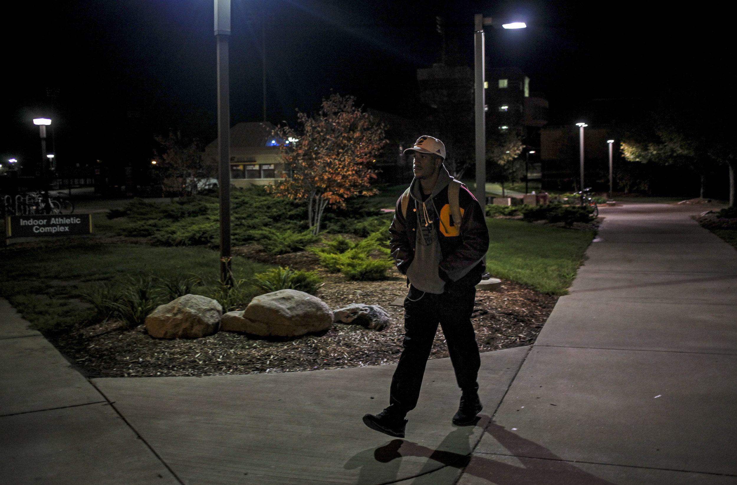 After a long day at school, Ray Golden, Jr., leaves campus. With days that start with early morning practices and a day full of classes, Ray gets to campus when it's dark and often doesn't leave until after dark.