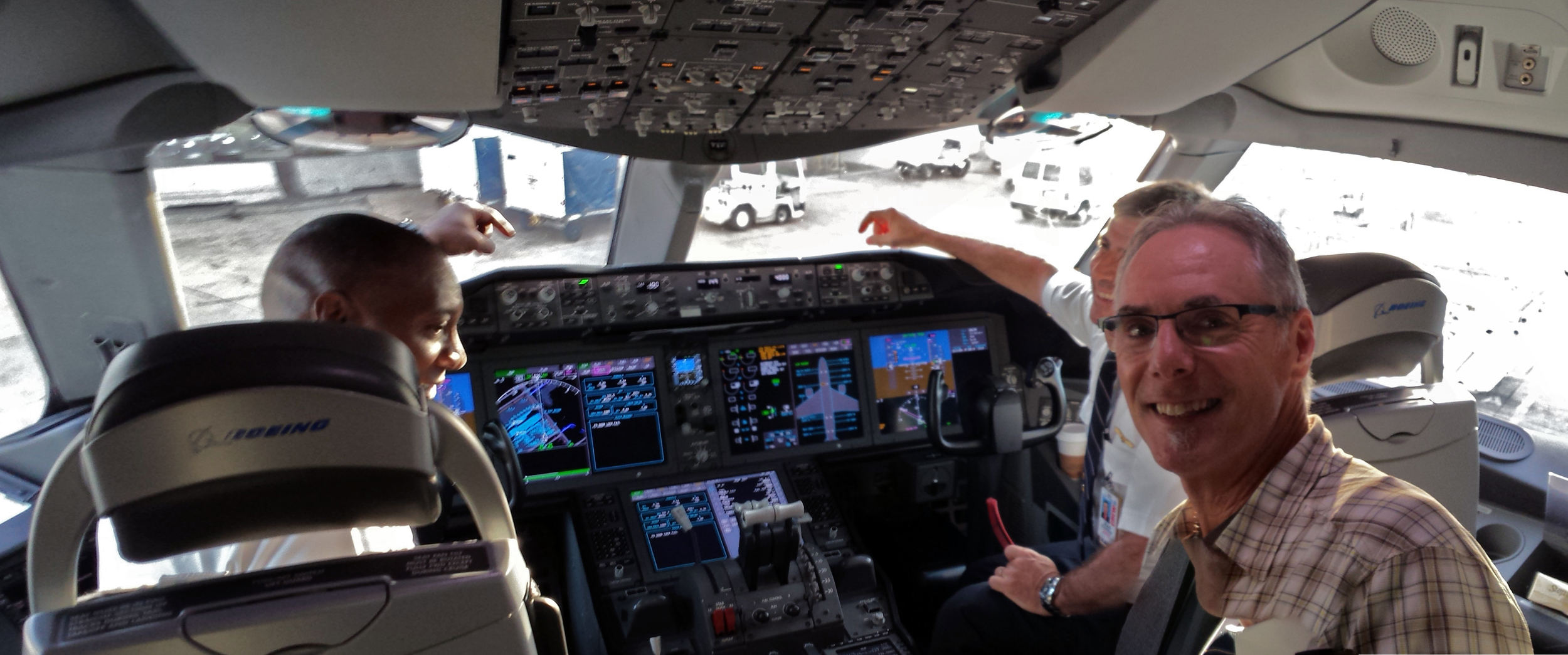 Testing the jump-seat on a Dreamliner