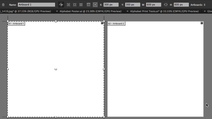 In this image, Artboard 1 is selected, and you can see the size and placement of the artboards.