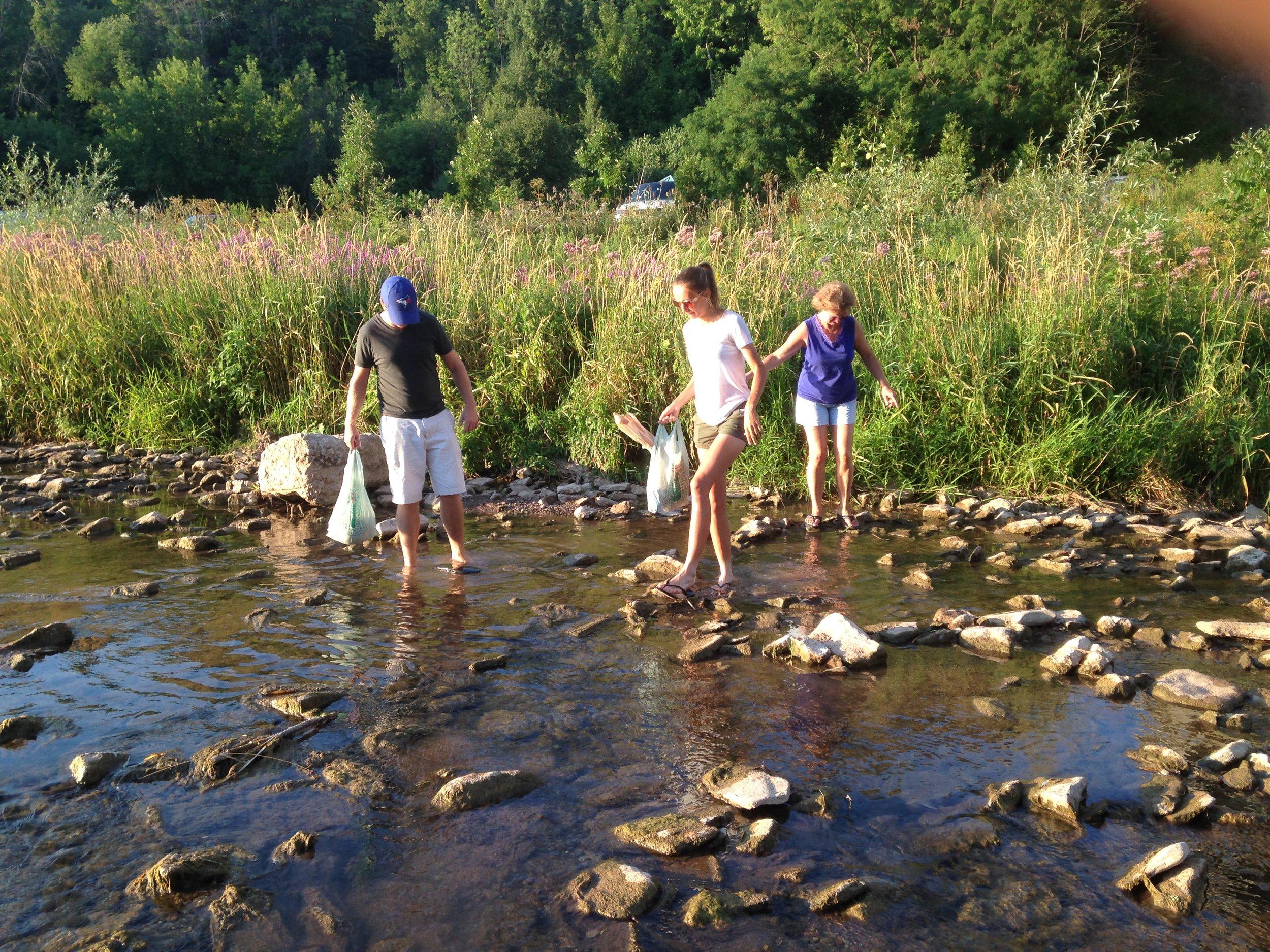 Bob, Bev, and Krista Stofko crossing 16 Mile Creek