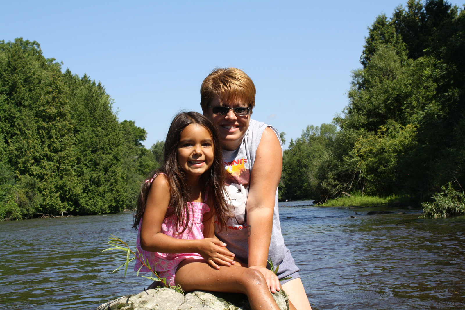 My daughter, Lyla, and I preparing to cross the Speed River.