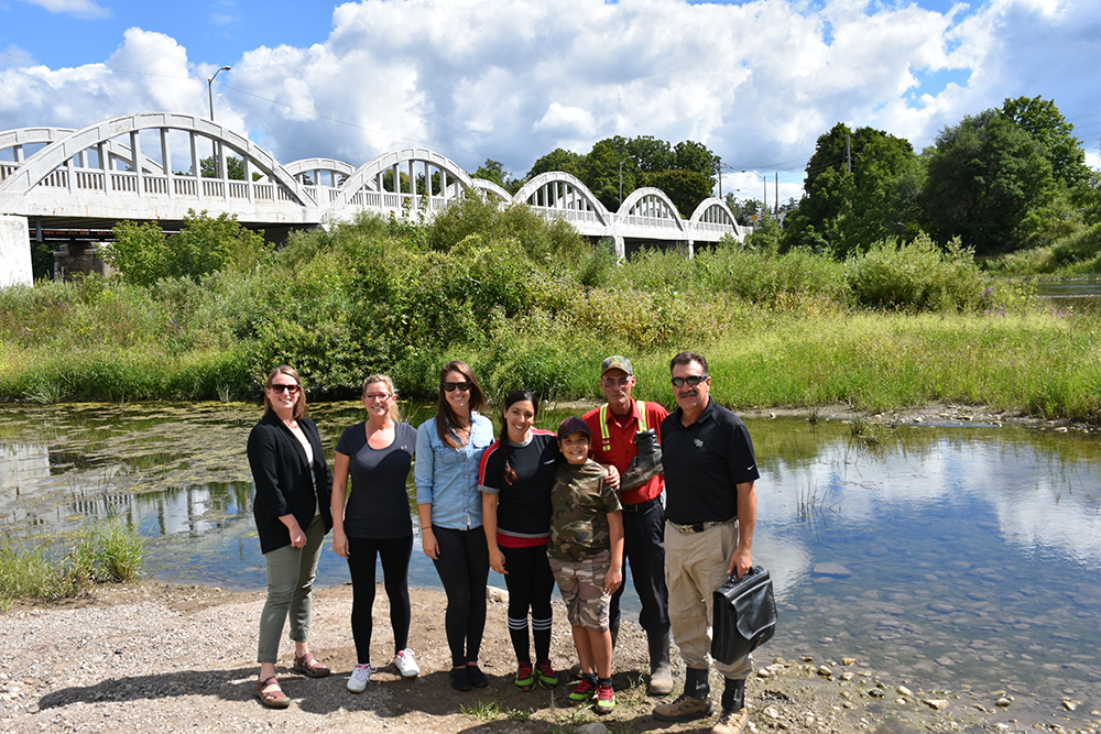 """""""Happy group ready to walk"""" From left: Erica Stolp, Kim Robichaud, Katie Skinner, Tanya Almeida and son Romeo, Rick Crawford and Dan Thorne"""