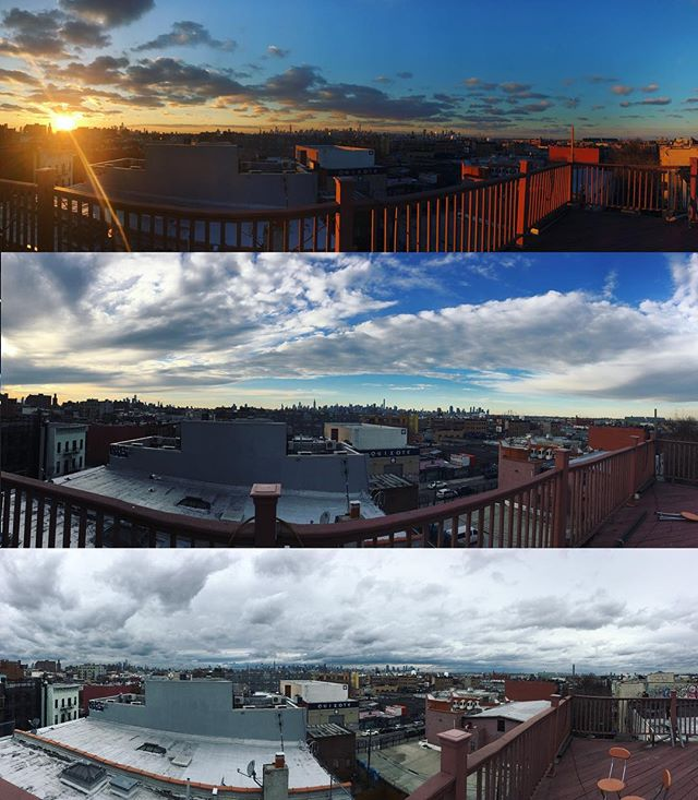 Some shots from my #rooftop over the past month... absolutely love it here 🌃 #brooklyn #bushwick #nyc #skyline #cloudscape #panorama #cityscape #skyline #horizon #photography