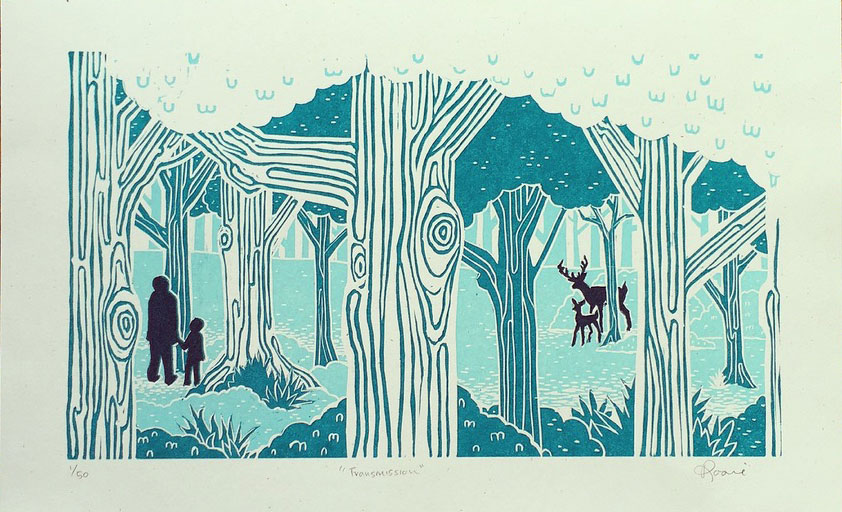 Transmission  , Reductive woodblock print, Edition of 50.
