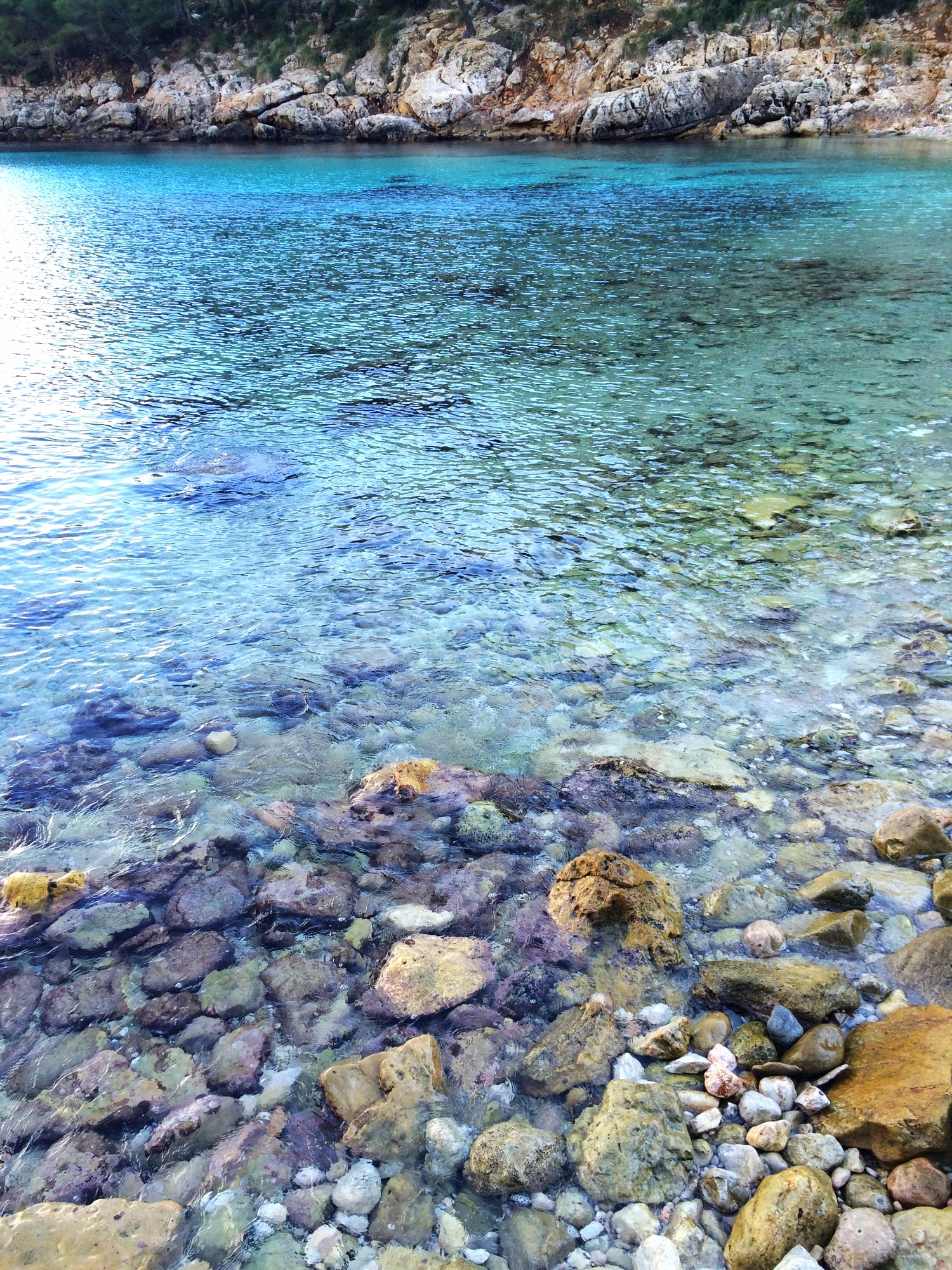 Clear waters at Cala Murta in Formentor