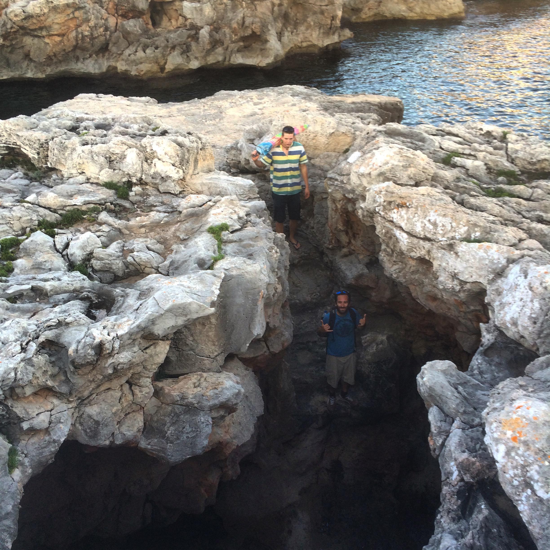 Seaside cave exploring