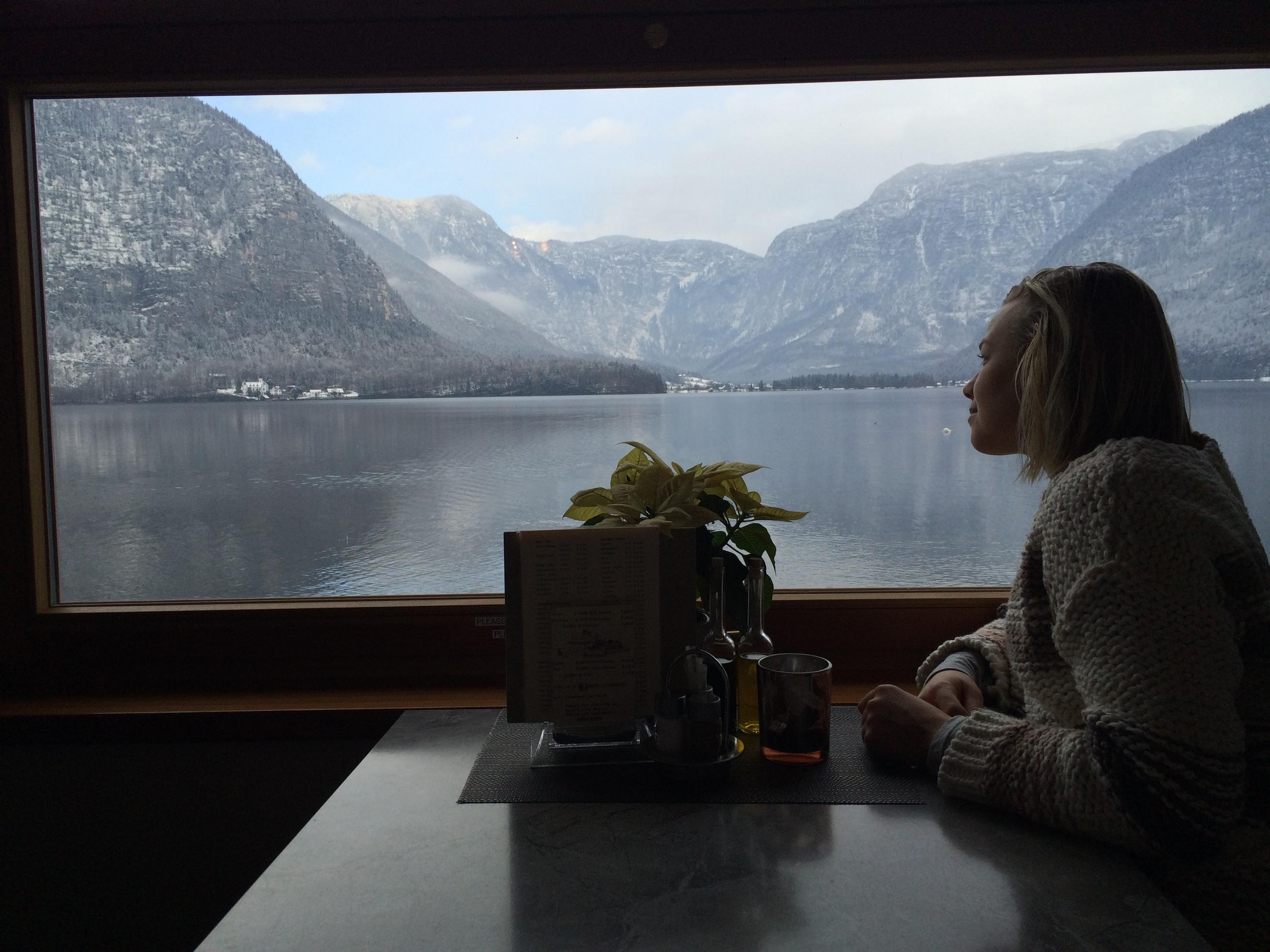 Meatstrudel soup with this view. - Hallstatt, Austria