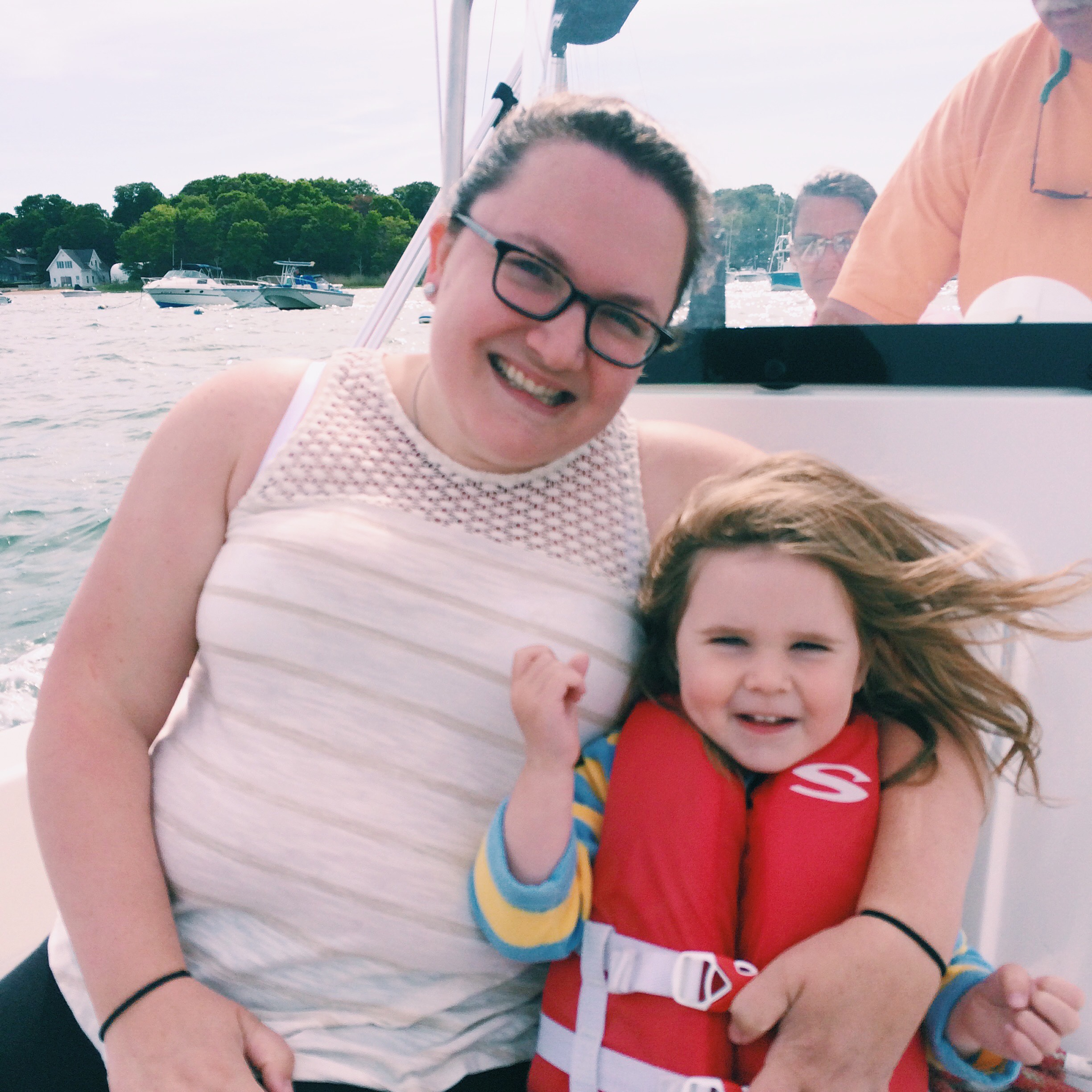 Late afternoon cruise on Papa's boat in Duxbury Harbor.