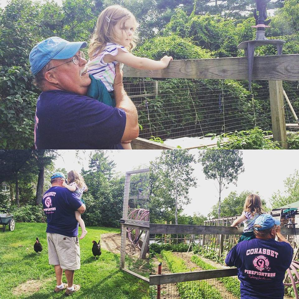 Helping Papa with the garden and chickens in Duxbury.
