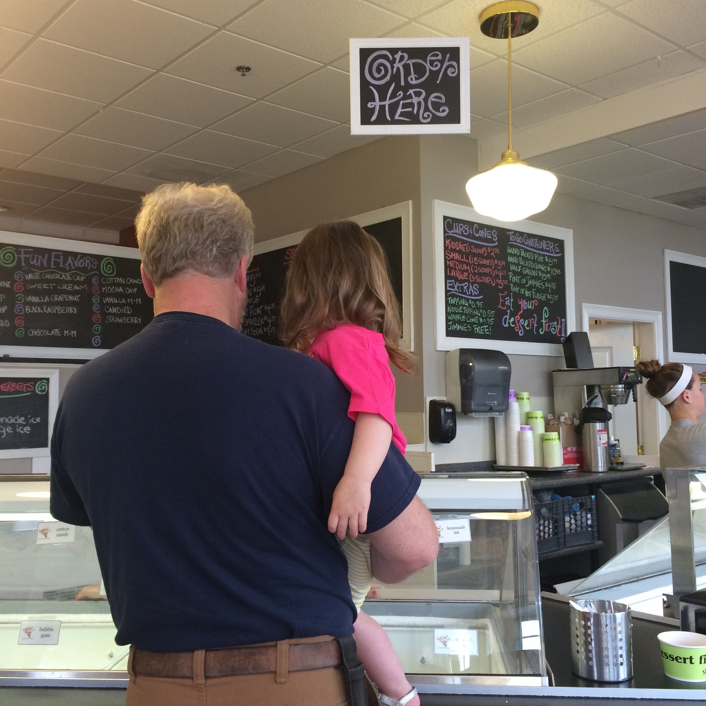 Getting ice cream in the harbor with Papa.