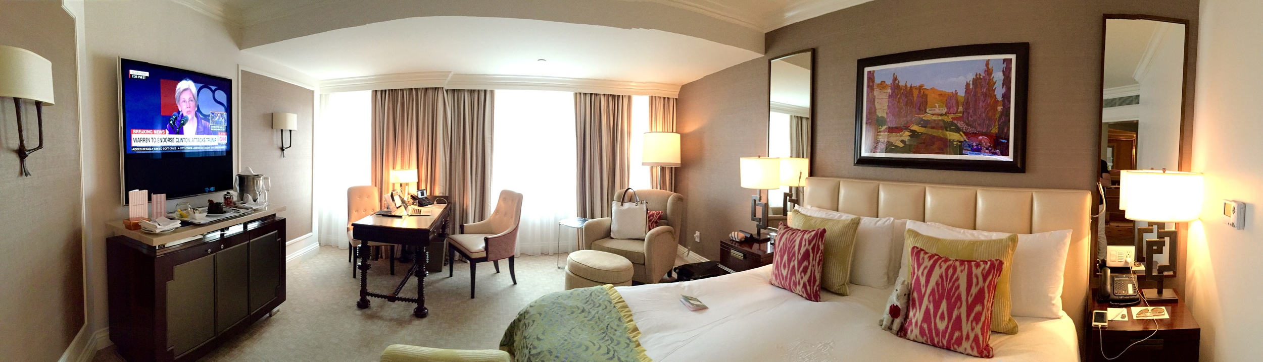 Our Suite at The Beverly Hills Hotel, Can You Spot My Little Travel Companion in the Photo?