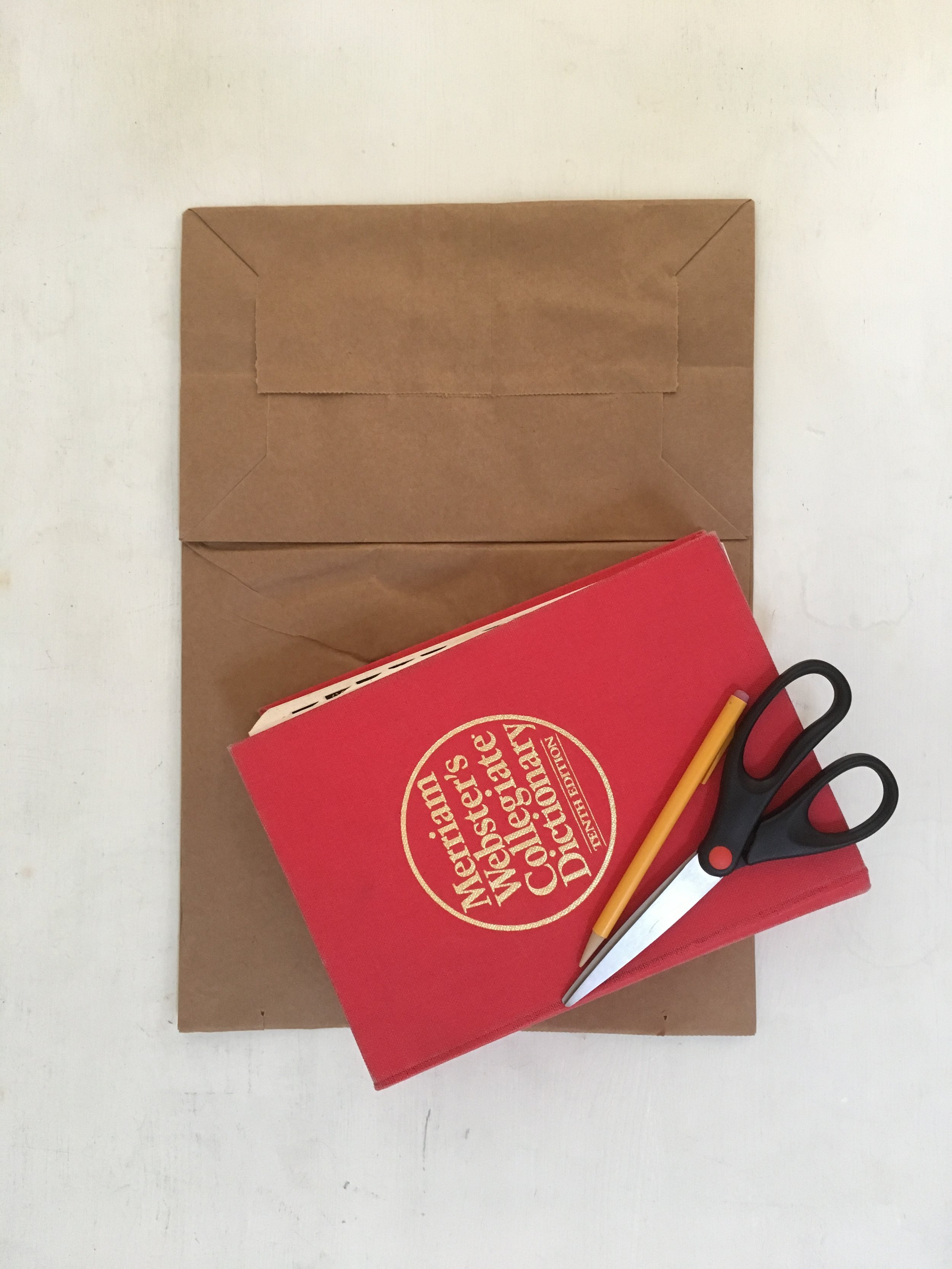 Brown paper grocery bag with dictionary and scissors