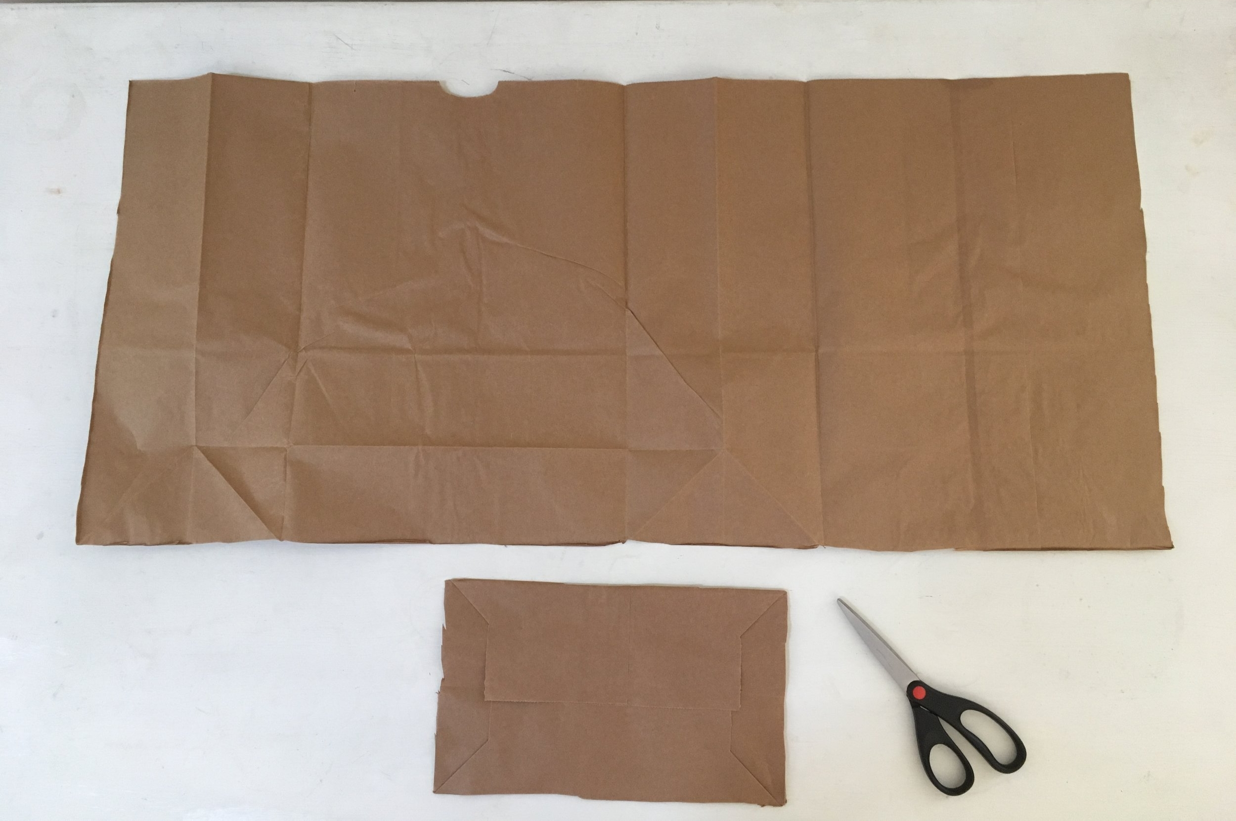 Brown paper grocery bag cut and flattened