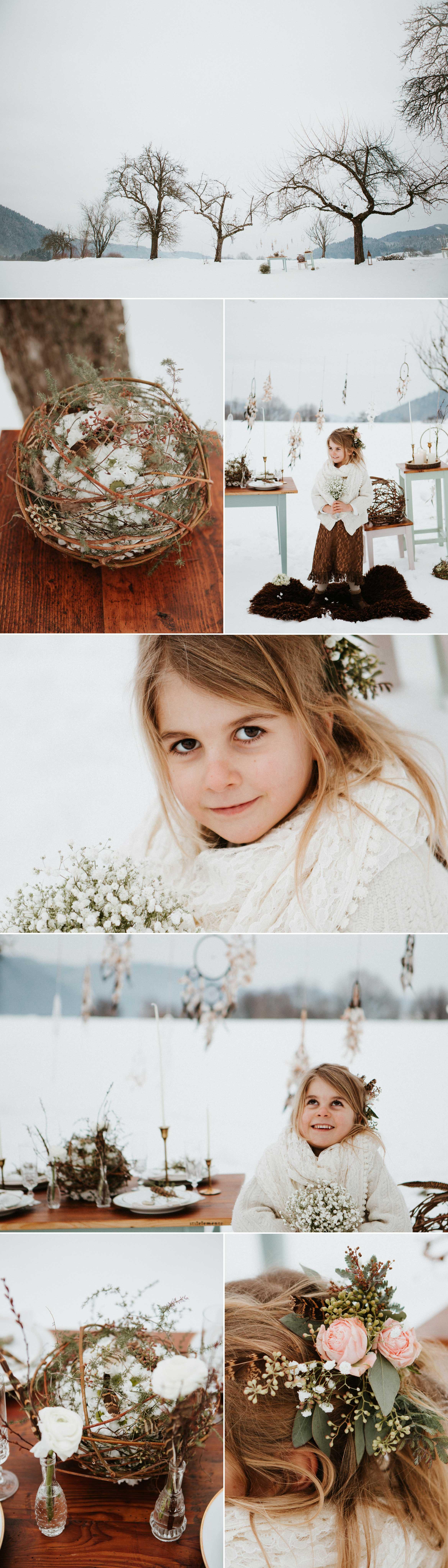 Wir haben uns auf ein außergewöhnliches Dekorationskonzept fokussiert. Handgearbeitete Leihmöbel in klaren Linien und kühlen Farben. Den Metalltrend, nostalgisch und edel, in Kerzenständer, geschmückt mit langen dünnen Kerzen. Das Geschirr welches Geschichte schreibt. Federn die Leichtigkeit bringen. Eine Floristik in wilder Romantik, karges Holz geschmückt mit lieblichen Blüten. So wunderbar kann der Liebestraum in der klirrenden Kälte aussehen.