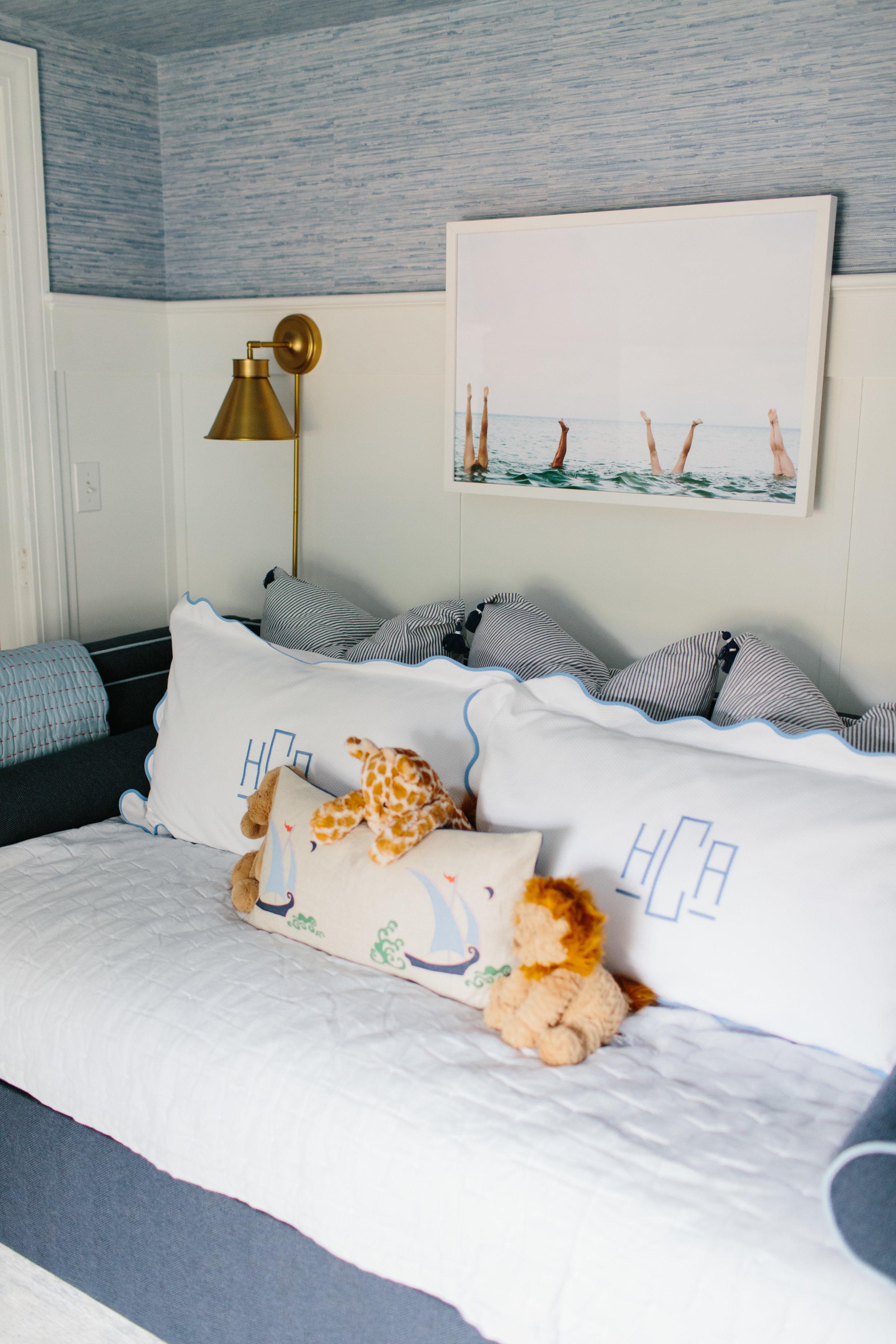 Nautical Nursery Boys Bedroom Blue Wallpaper by Abby Capalbo   Photography: Erin McGinn