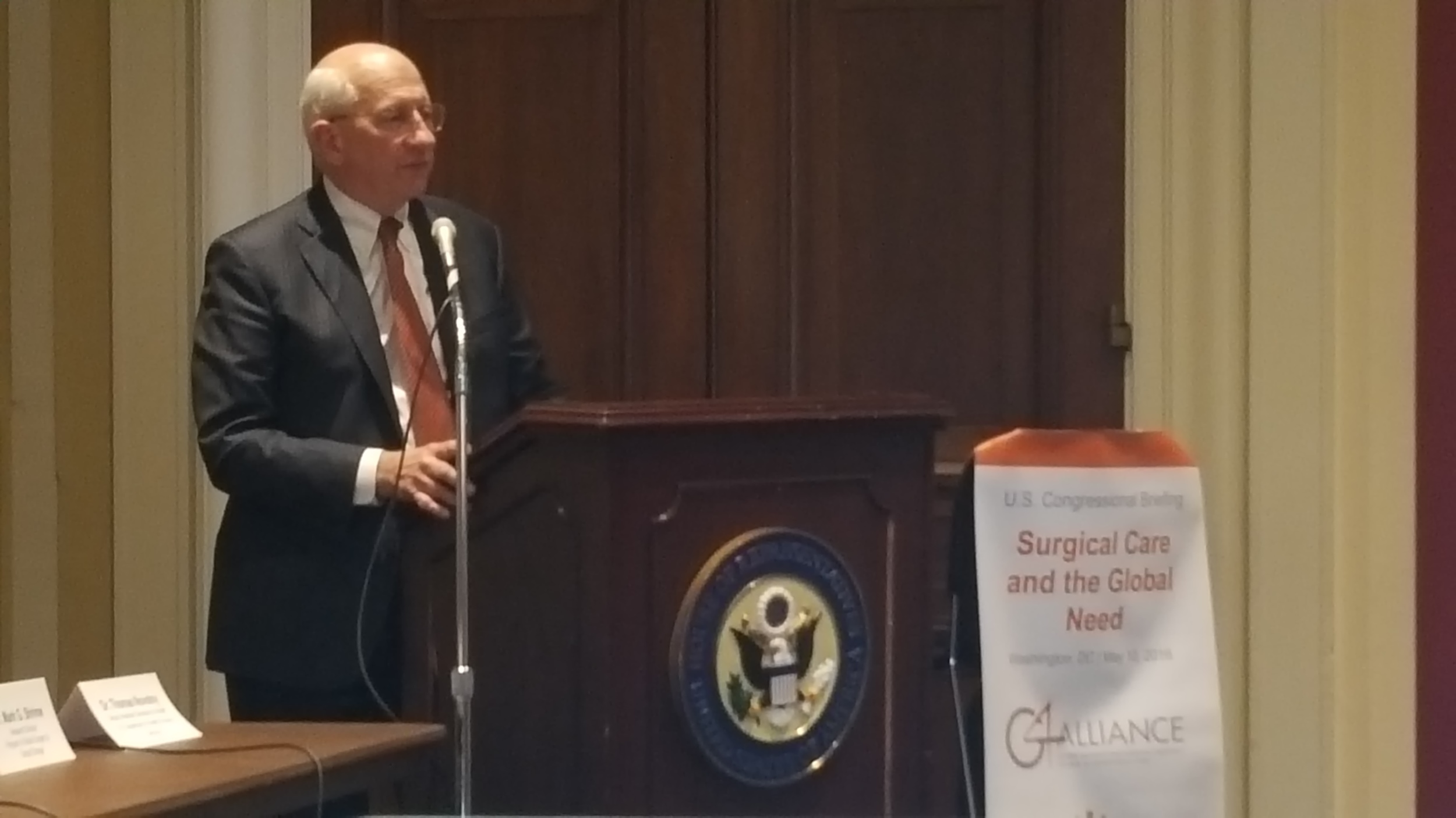 Moderator Dr. Thomas Novotny, Deputy Asst. Secretary for Health at HHS, highlights the need to augment the health workforce in order to begin to expand access to surgical care in low-resource settings.