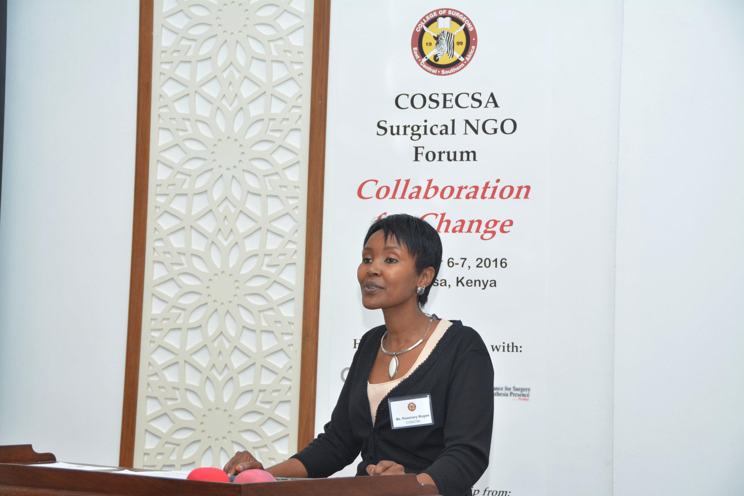 COSECSA Surgical NGO Forum - Ms. Rosemary Mugwe - CEO, COSECSA (2).JPG