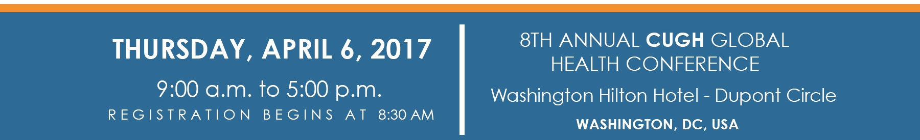 Registration is open and independent of registering for the CUGH 2017 Conference. Pre-registration is required. For more information about the 8th Annual CUGH Conference visit: www.cugh.org.