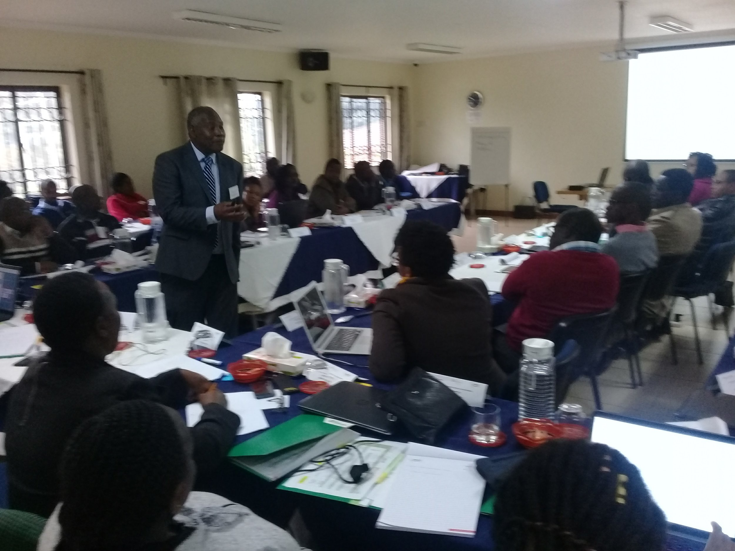 Prof. Charles Mayaka leads a session.