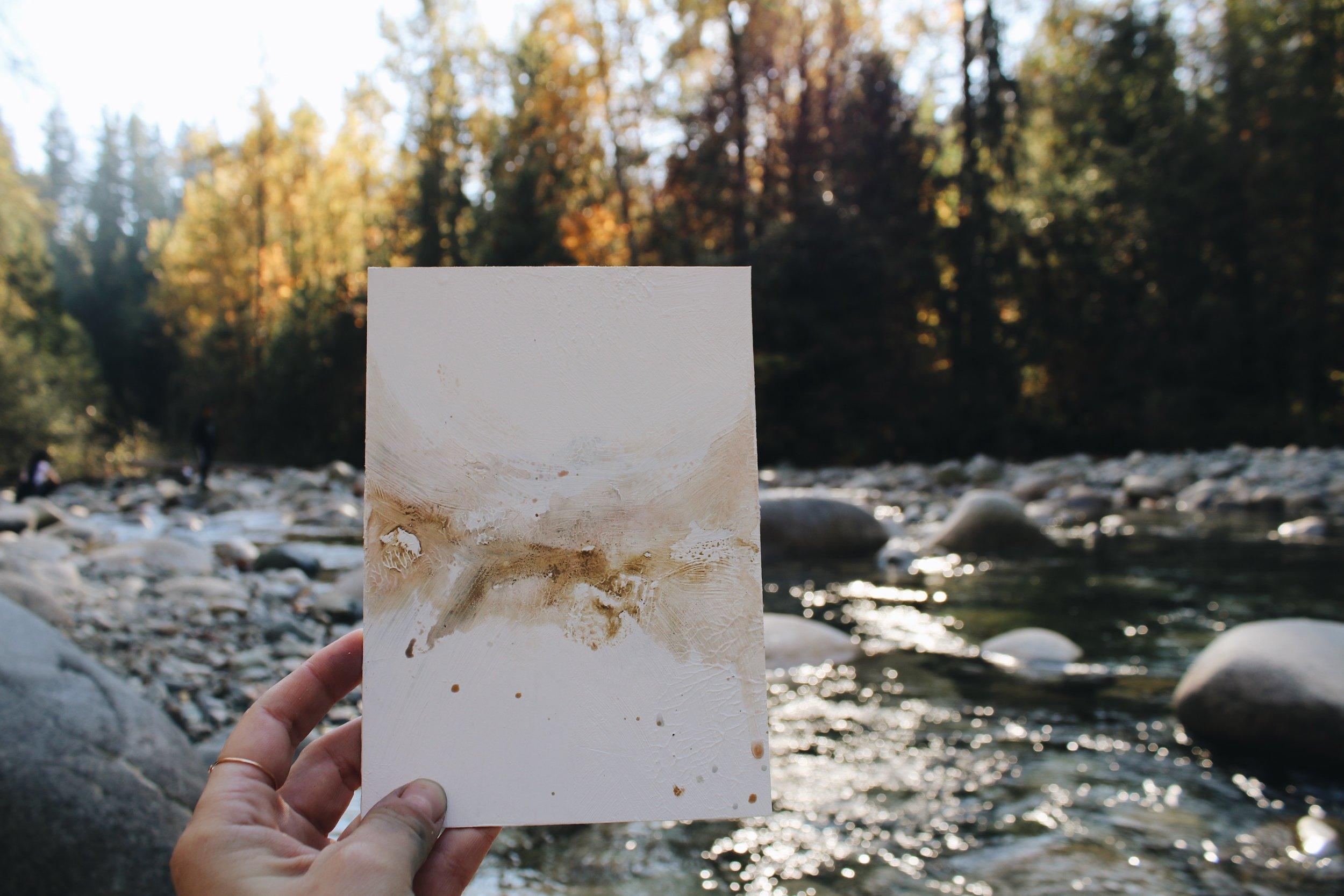 Setting up to paint for the day along the river at Lynn Canyon Park - couldn't have asked for a more perfect fall afternoon