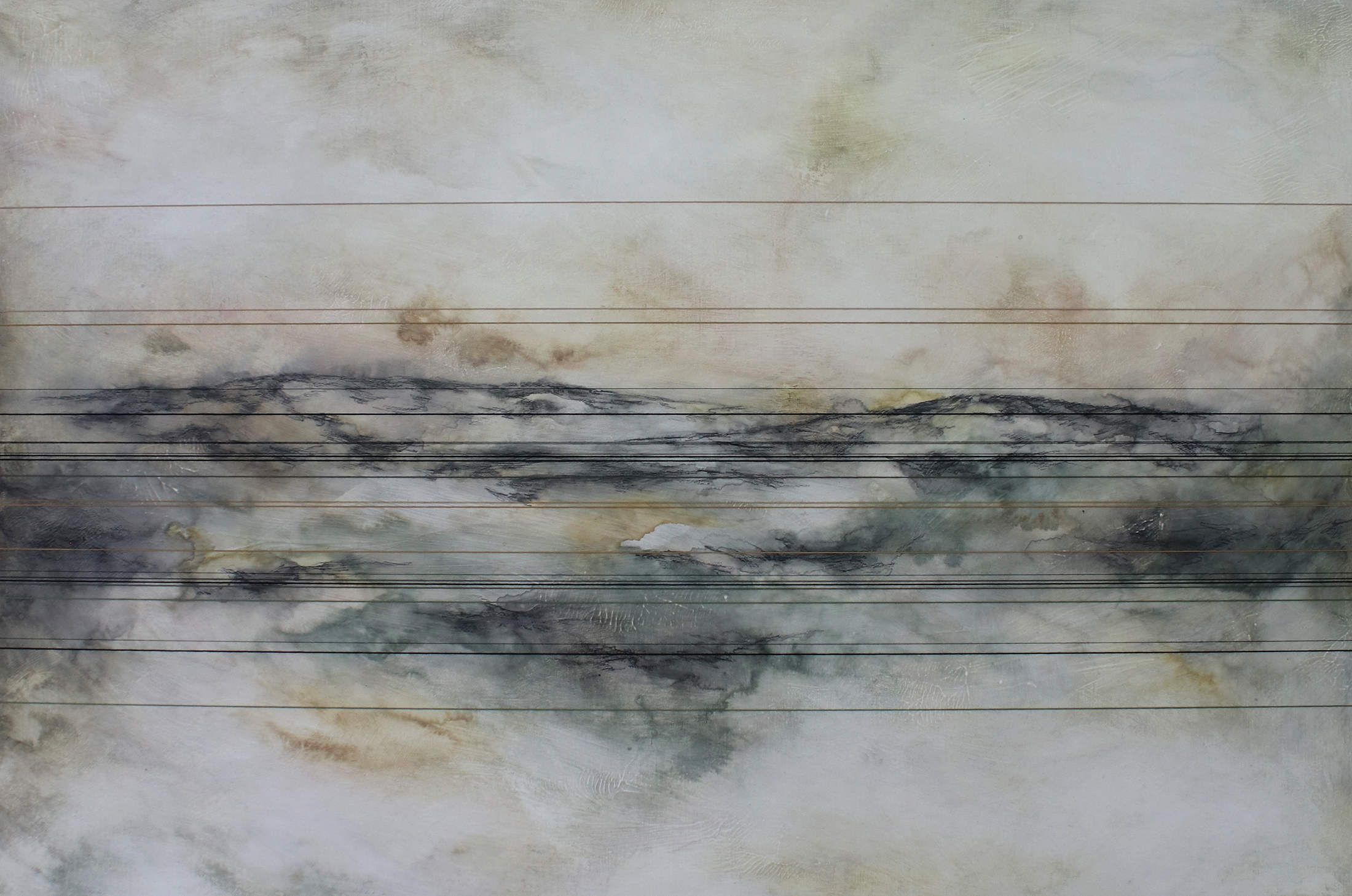 """""""Stretched on for Miles"""" Thread & Mixed Media, 24""""x36"""""""