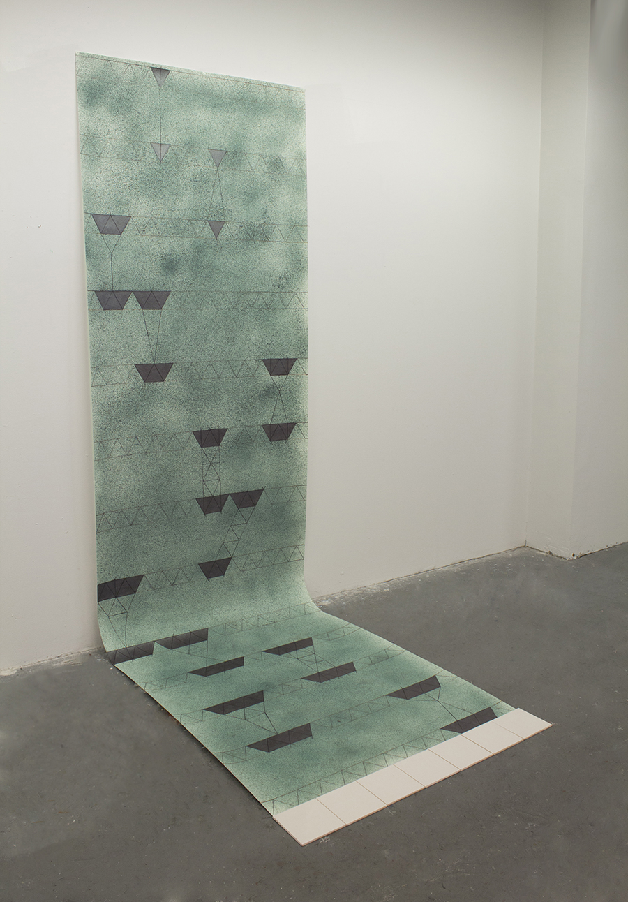 9.Instruction Manual_2013 acrylic, graphite, and spray paint on paper, tiles, 42x138- $800.jpg