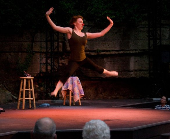 """Production still from original one-woman show """"STEPS,"""" performed at Shake Rag Alley in Mineral Point, WI, 2010."""