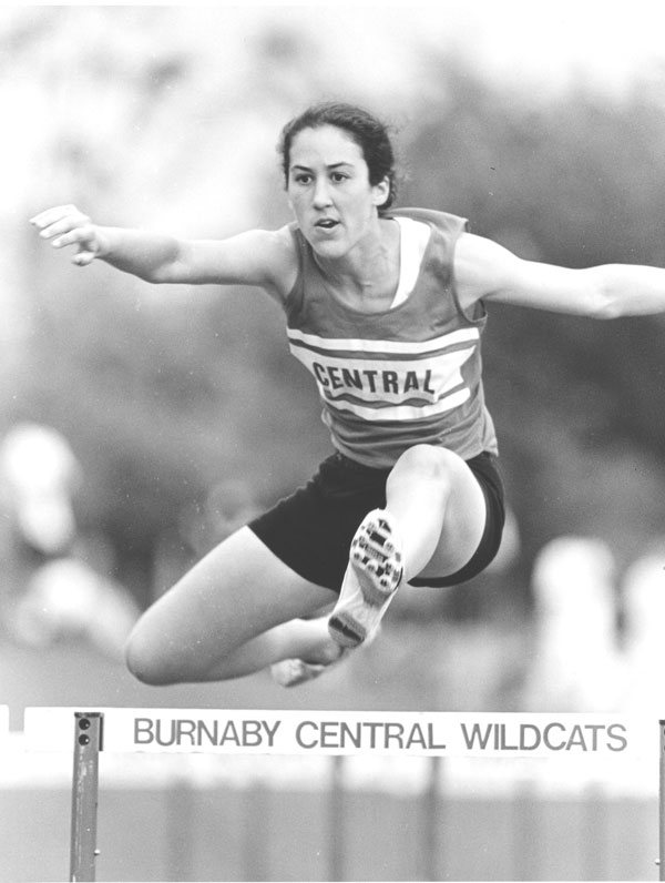 Me hurdling at the B.C. High School Championships in the women's heptathlon event.
