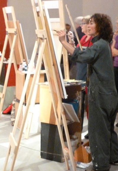 """Participating in an """"Artist's Smackdown"""" painting competition"""