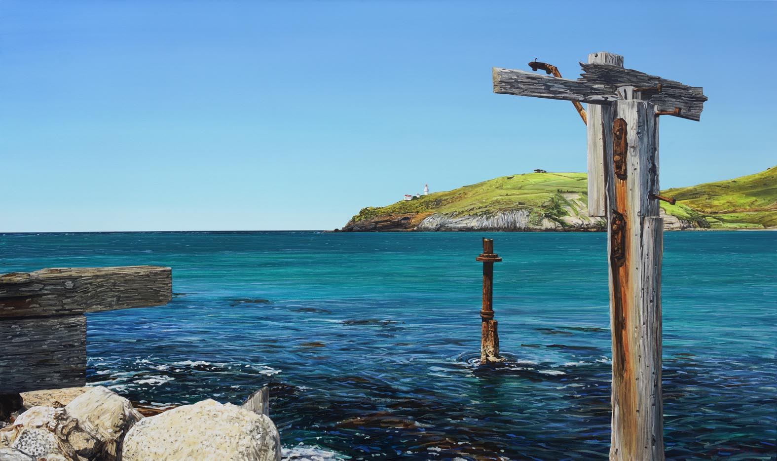 The Spit, Aramoana (cast away, shore leave is over) oil on canavs  200 x 118cm